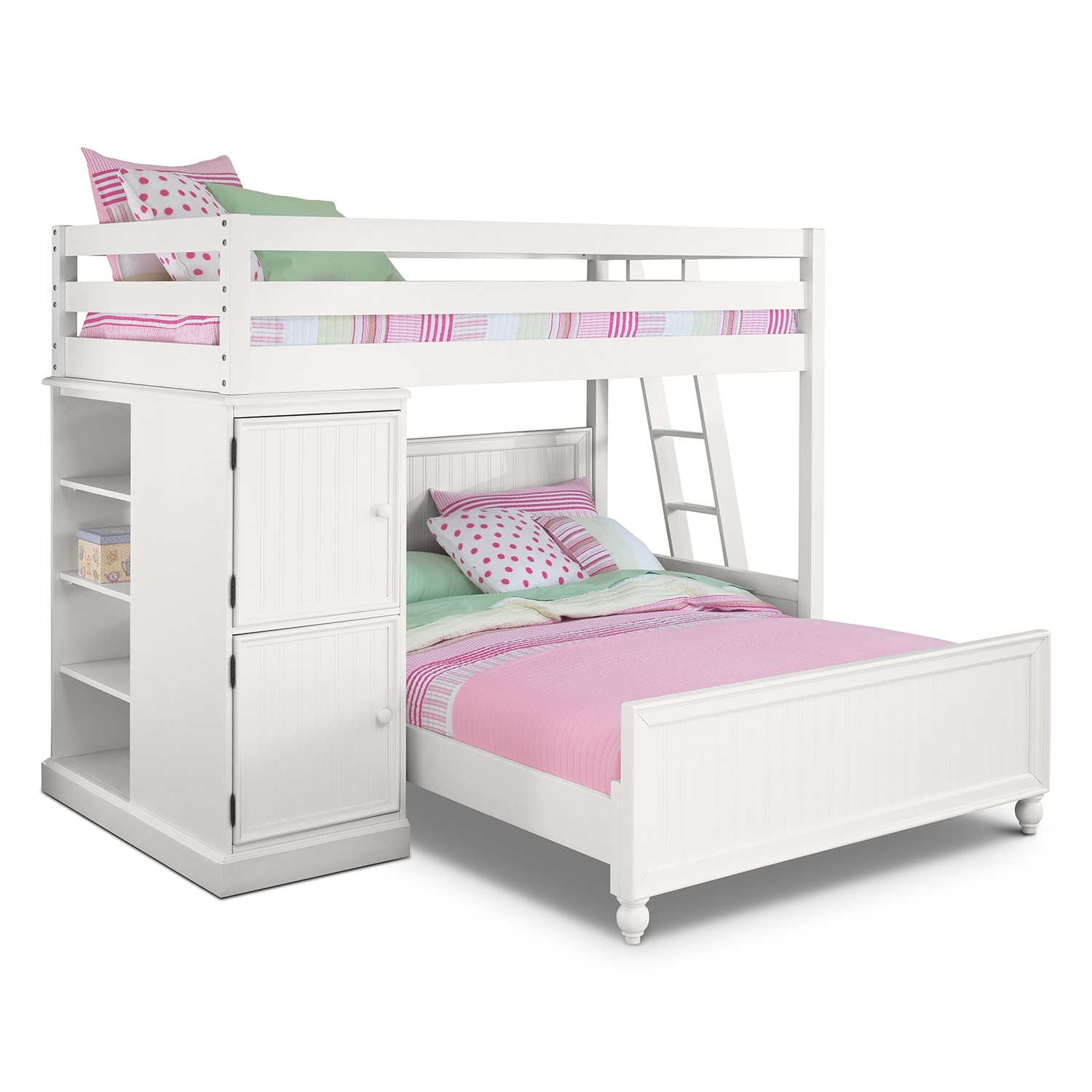 Colorworks white ii kids furniture loft bed with full bed for Loft furniture