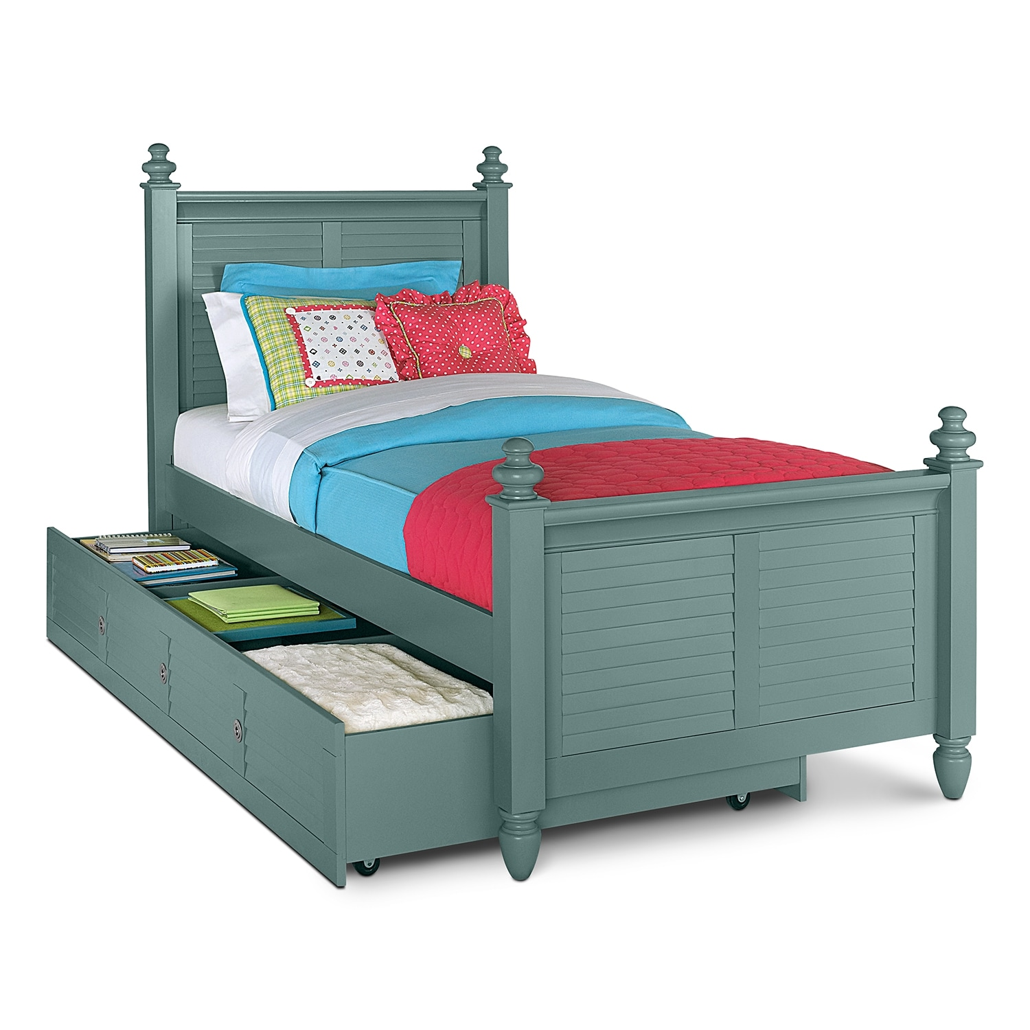 Seaside blue kids furniture full bed with trundle value for Kids bed design