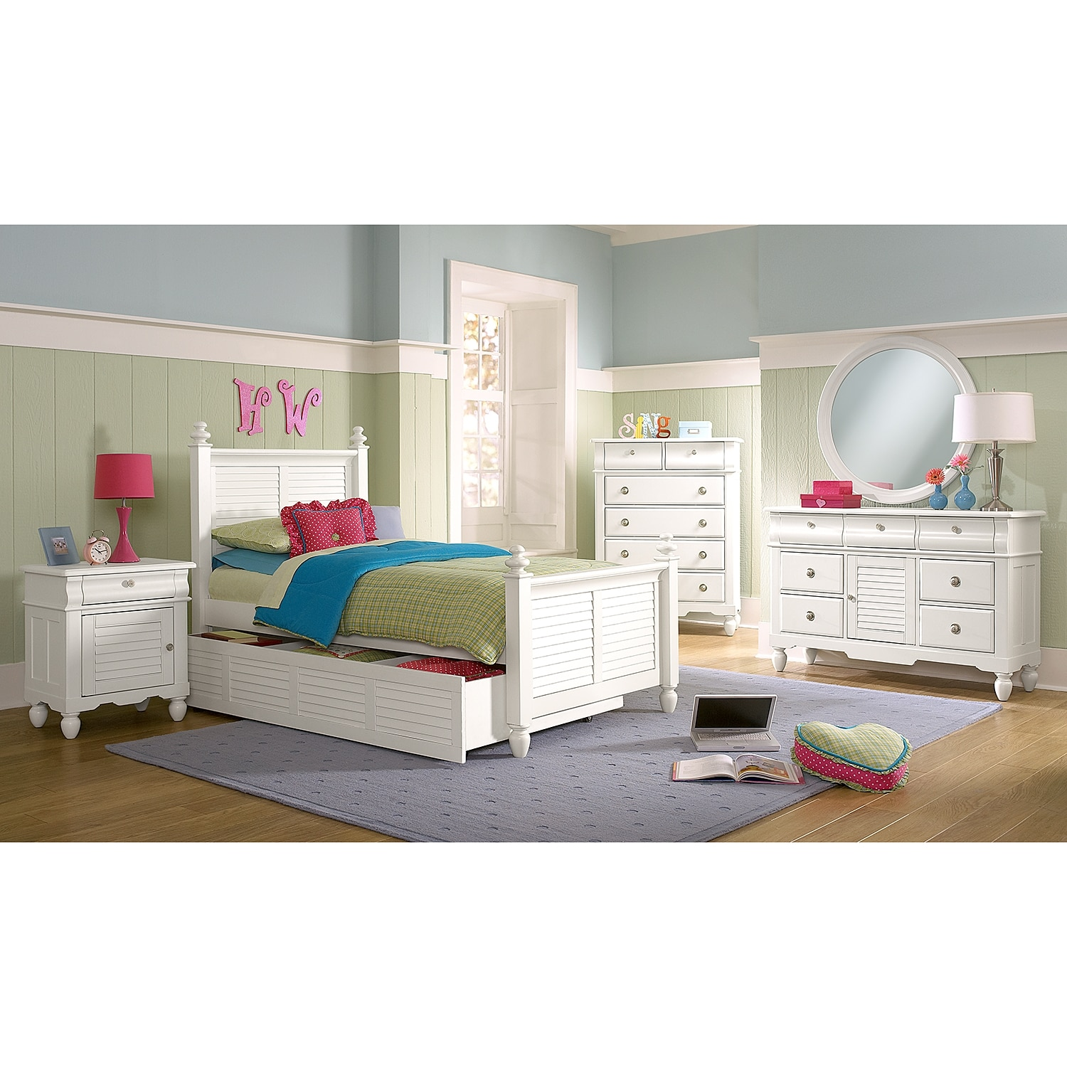 Seaside white twin bed with trundle value city furniture for Beds with trundle