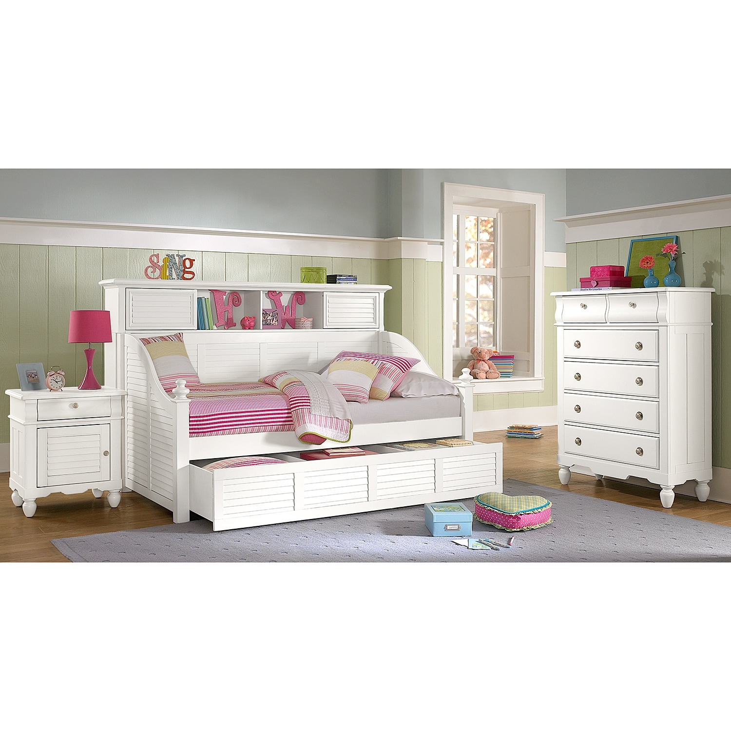 White Twin Bed With Bookcase Headboard And Trundle