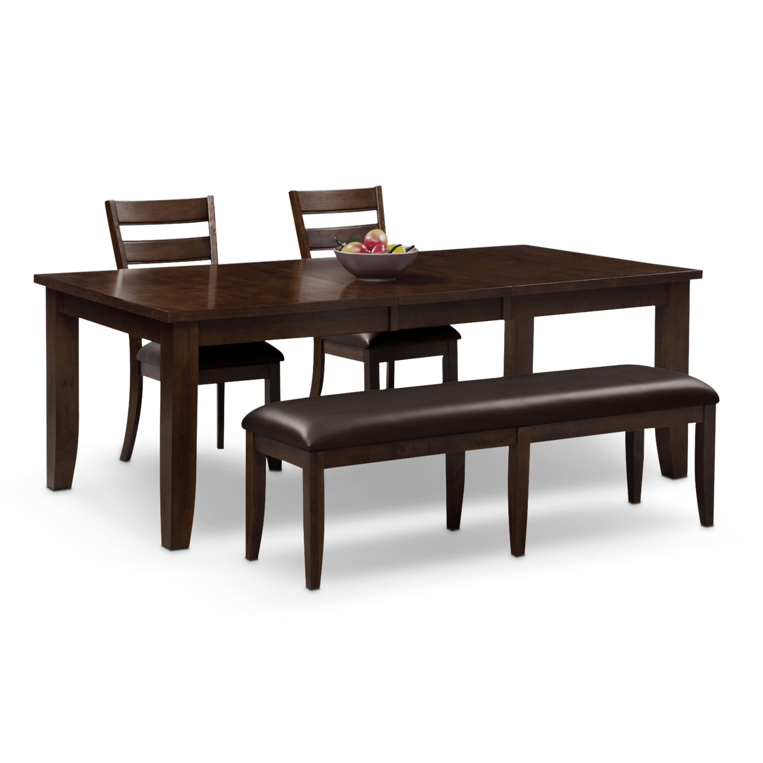 Abaco table 2 chairs and bench brown value city furniture for 2 dining room tables
