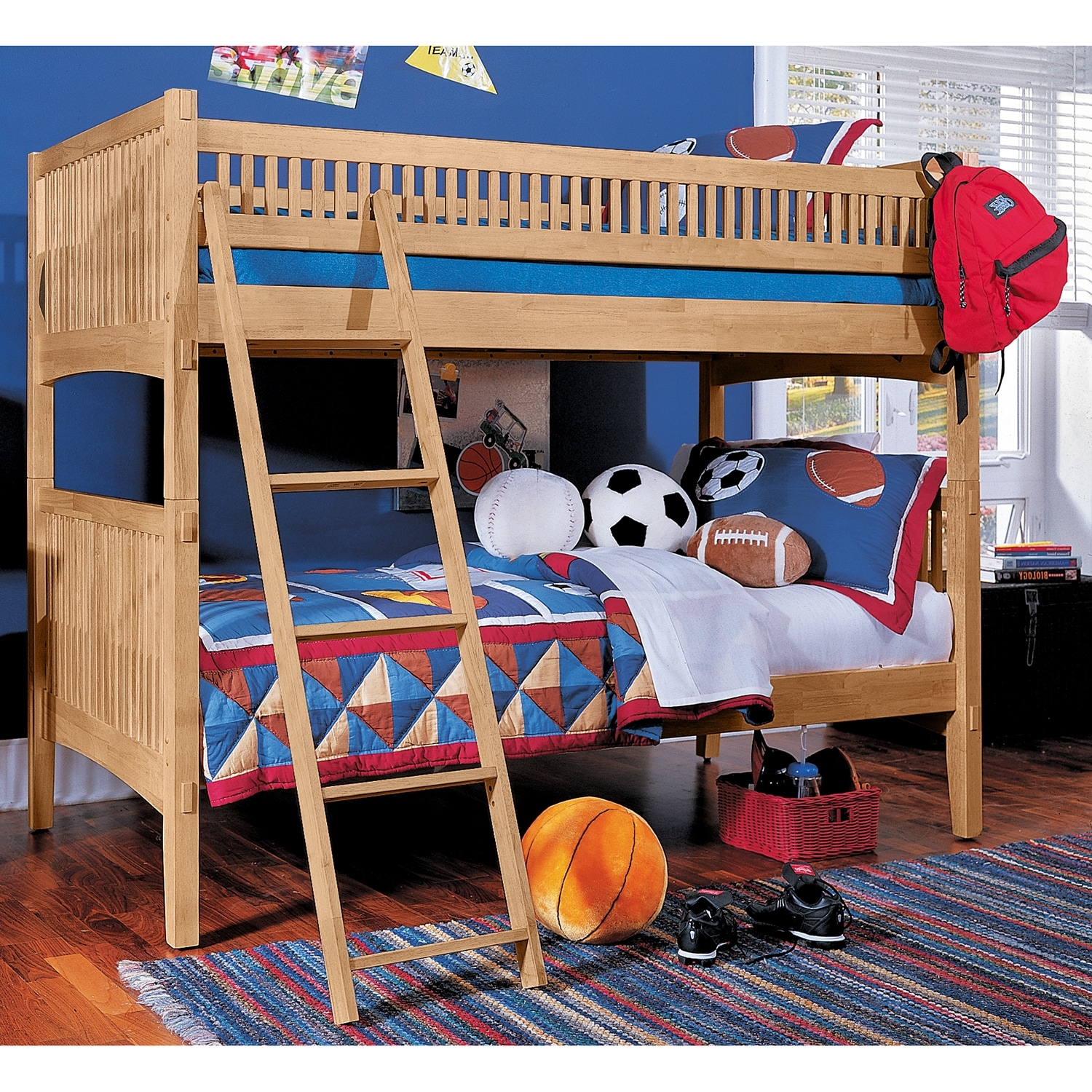 Arts crafts light iii kids furniture twin bunk bed for Kids craft bed