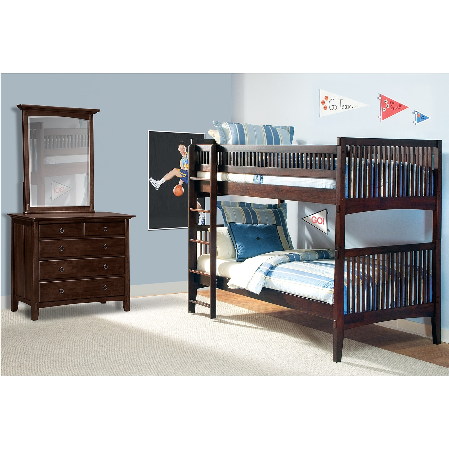Brown Solid Wood Twin Bunk Beds Convertible American Signature