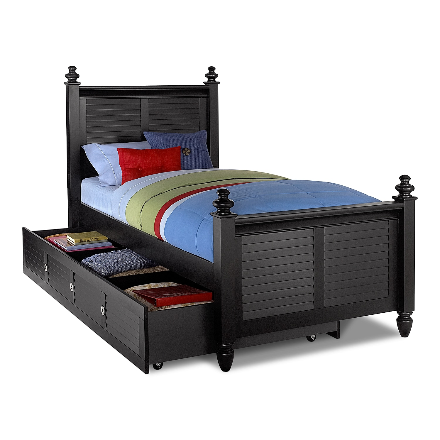 Seaside Twin Bed with Trundle - Black | Value City Furniture