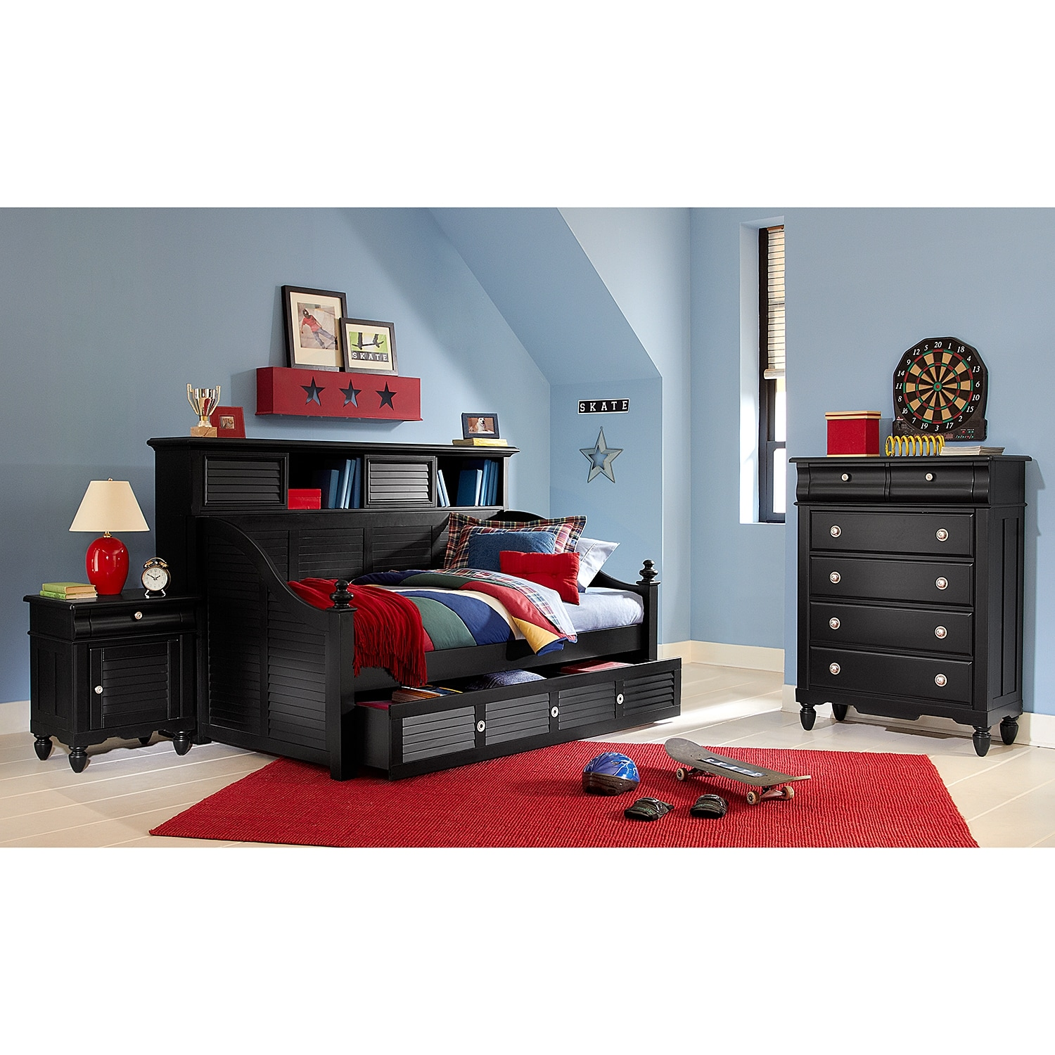 Seaside Black Ii Bookcase Daybed With Trundle Value City