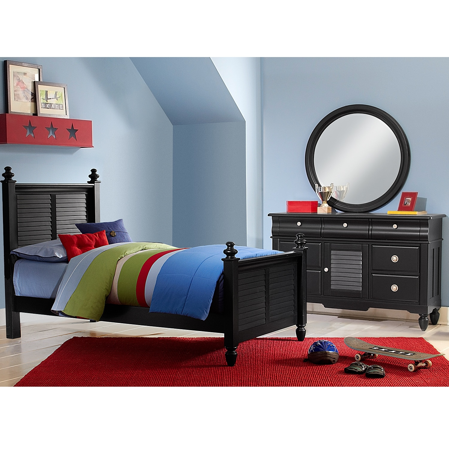 seaside 5 piece twin bedroom set black value city