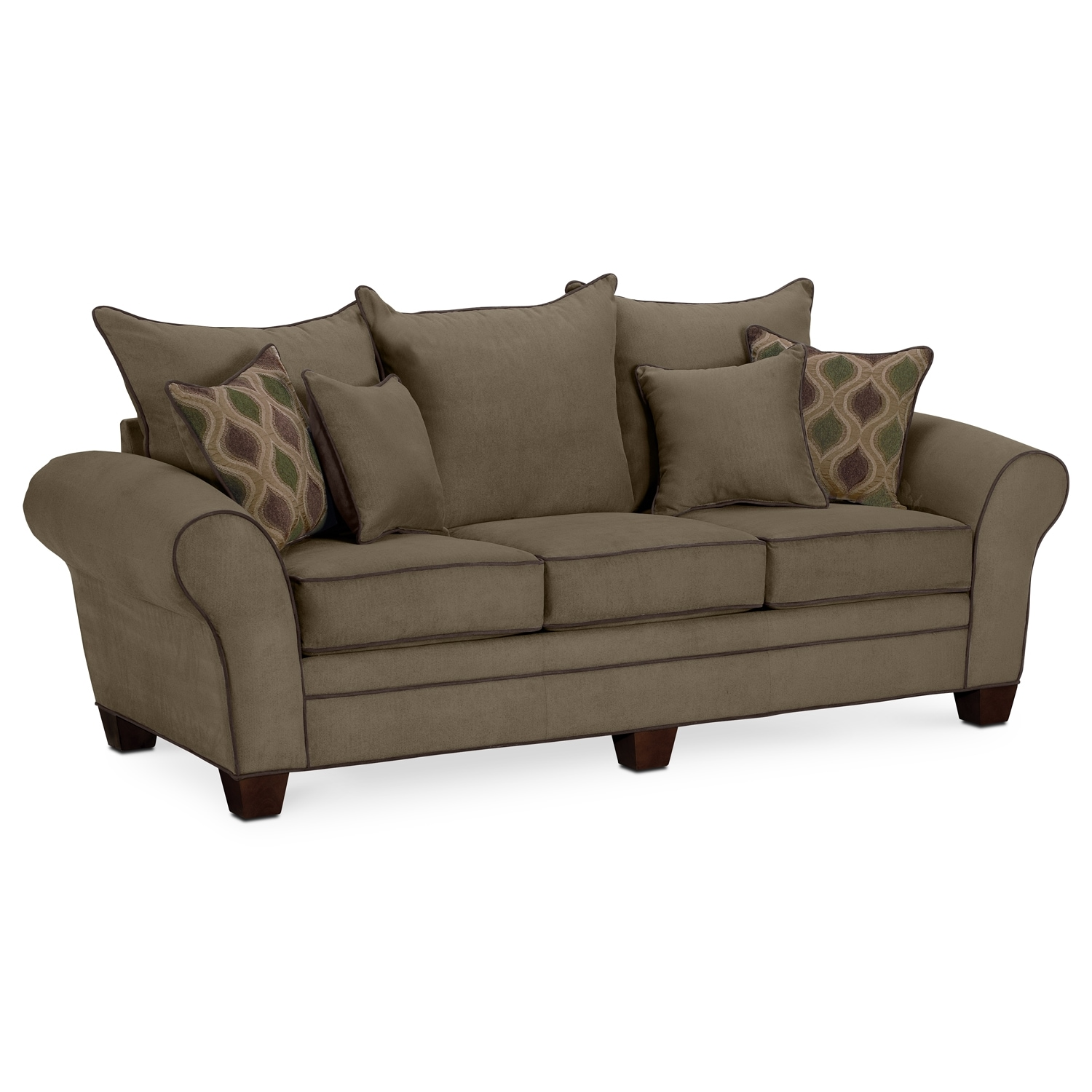 Rendezvous sofa olive value city furniture for Couch furniture