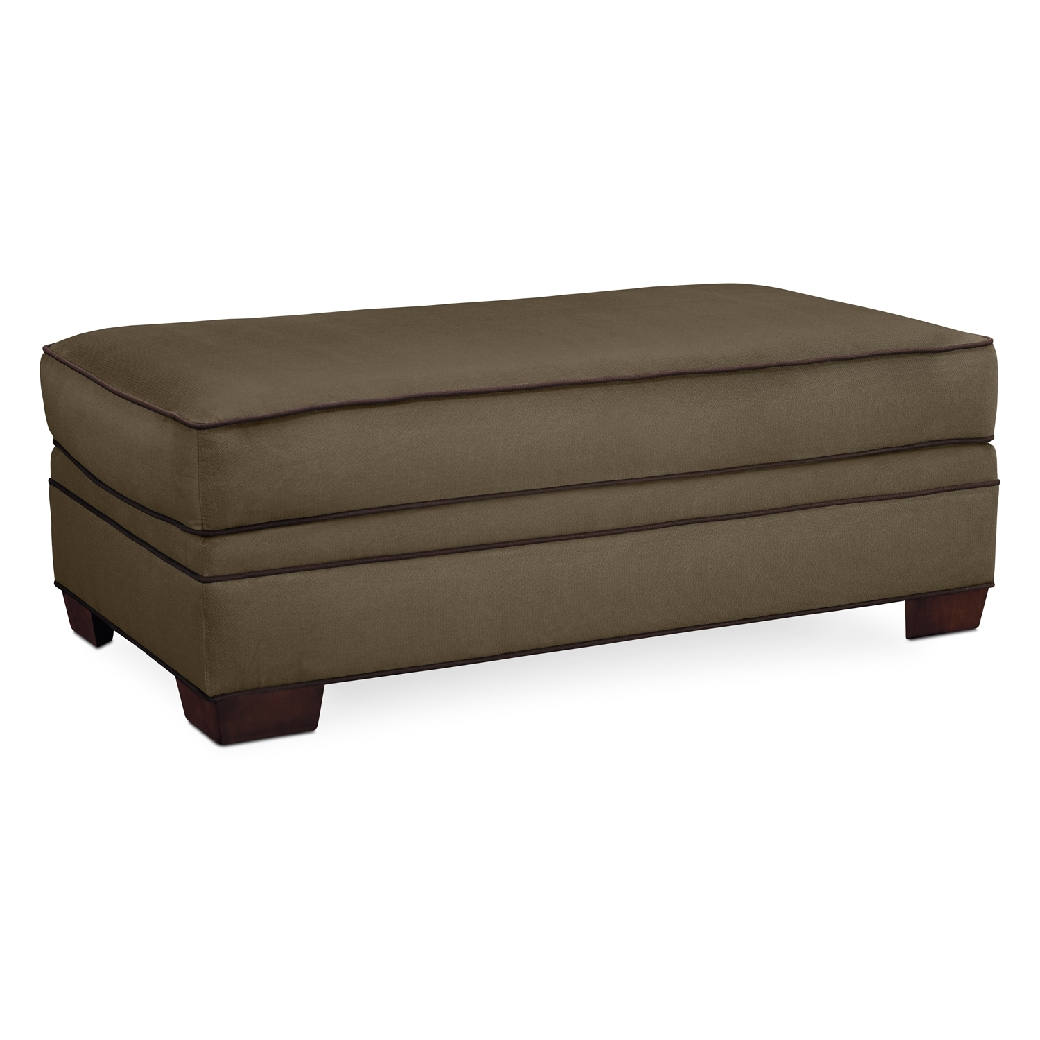 Living Room Furniture - Strauss Olive Ottoman