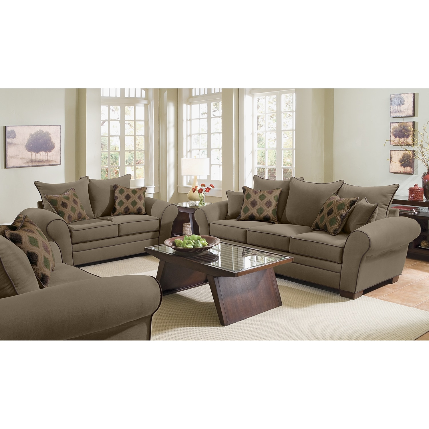 Rendezvous sofa and loveseat set olive value city for Living room sofa