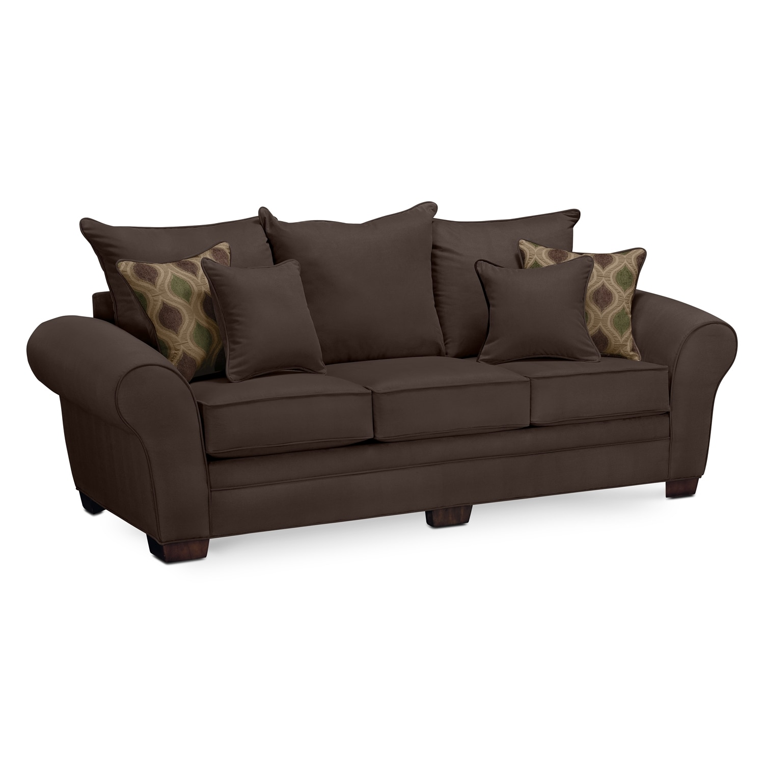 rendezvous sofa chocolate american signature furniture. Black Bedroom Furniture Sets. Home Design Ideas