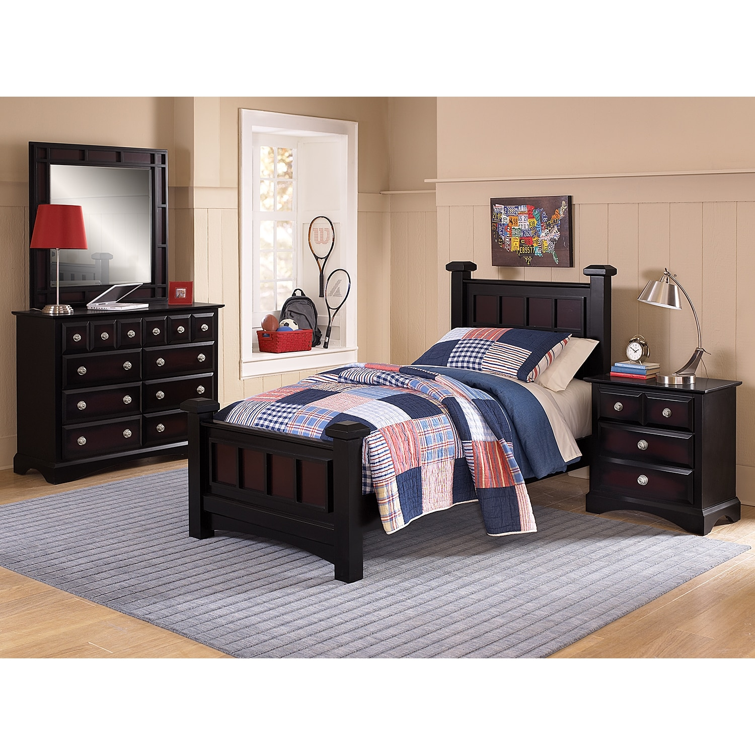 Winchester full bed ebony american signature furniture for Winchester bedroom furniture