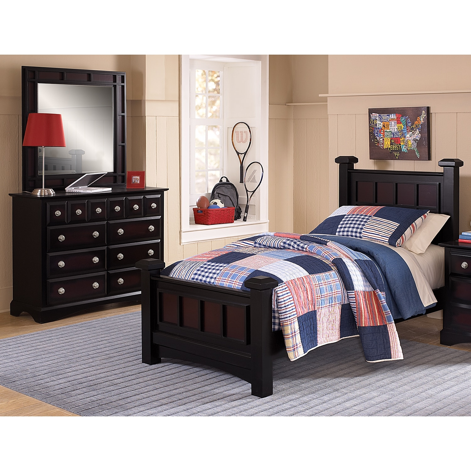 Winchester 5 Piece Full Bedroom Set Black And Burnished