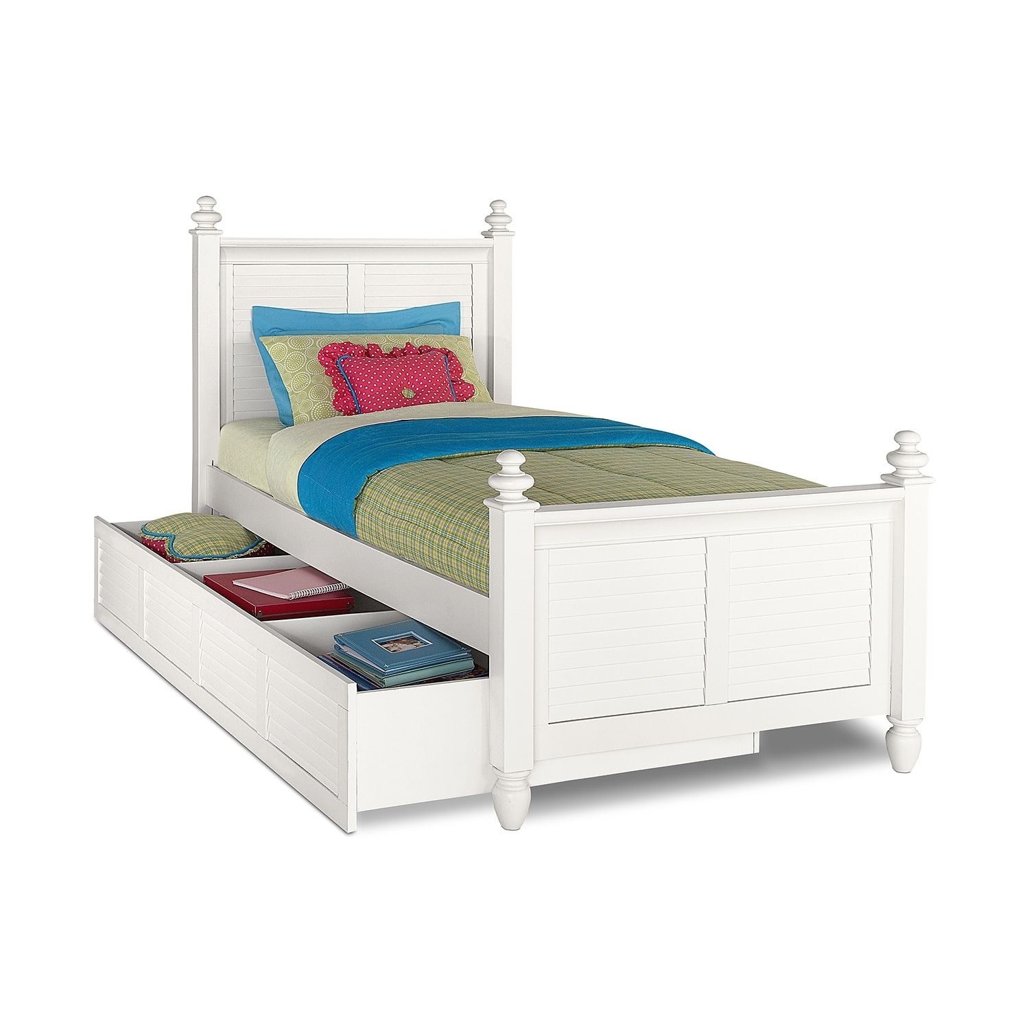 [Seaside White Twin Bed with Trundle]
