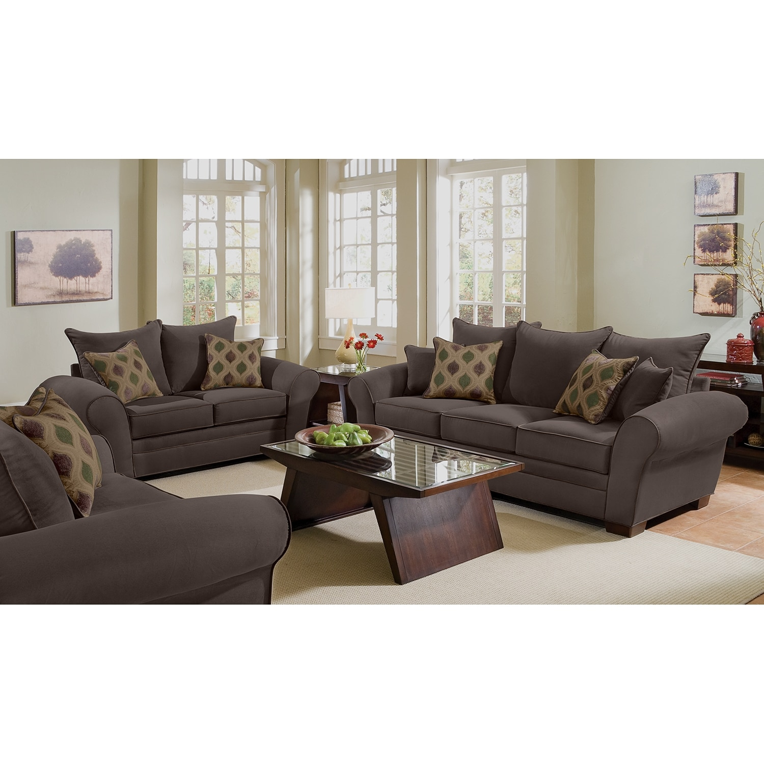 Rendezvous sofa and loveseat set chocolate american for Living furniture packages