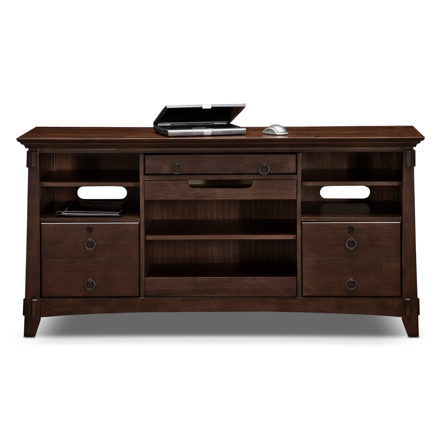 Arts Crafts Dark Home Office Workstation Credenza