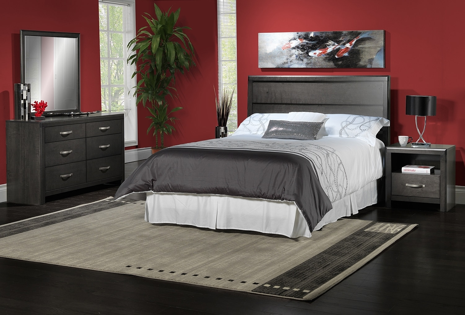 Bedroom Furniture - Dessy 4-Piece Queen Bedroom Set - Charcoal