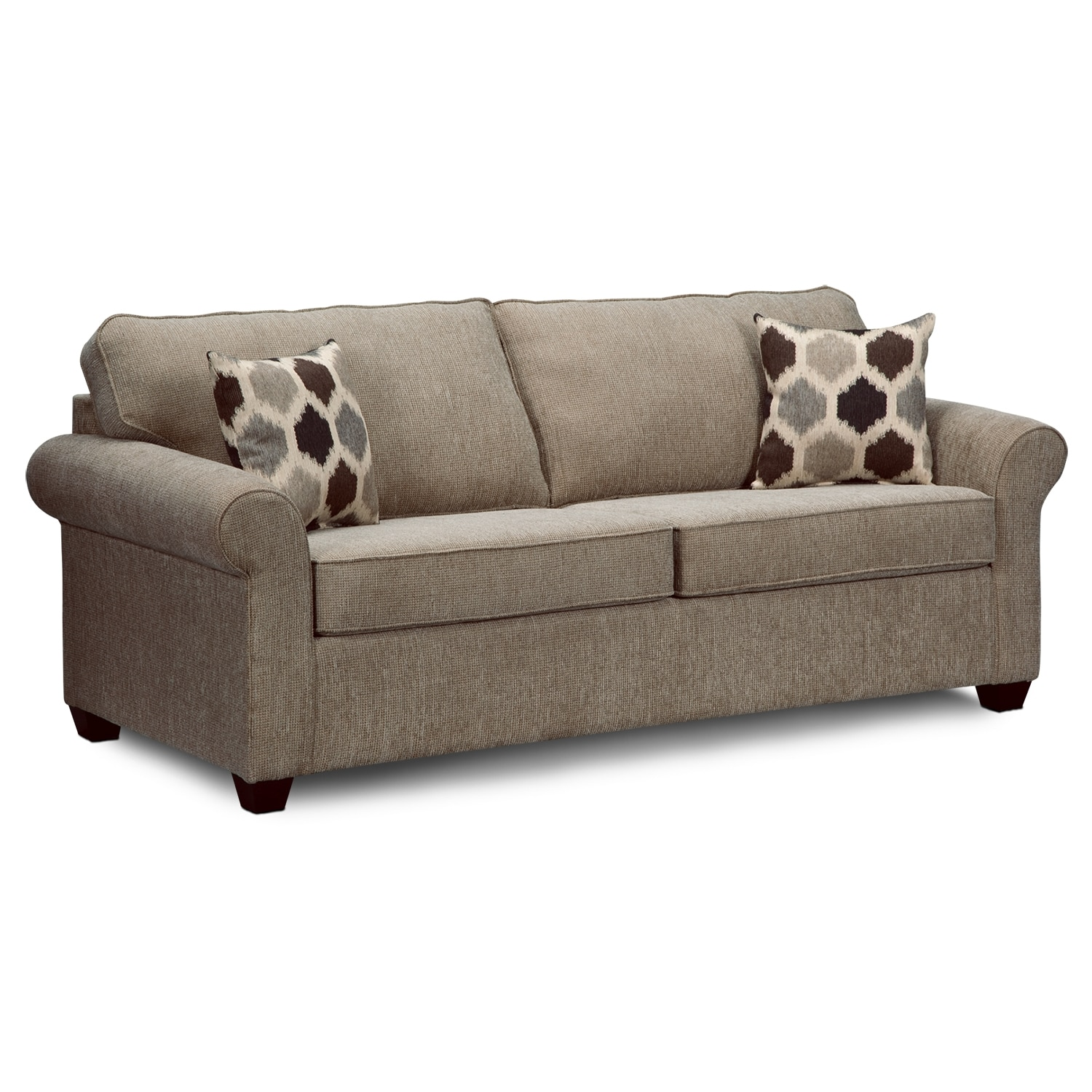 Fletcher queen sleeper sofa value city furniture for Sectional sofa with recliner and queen sleeper