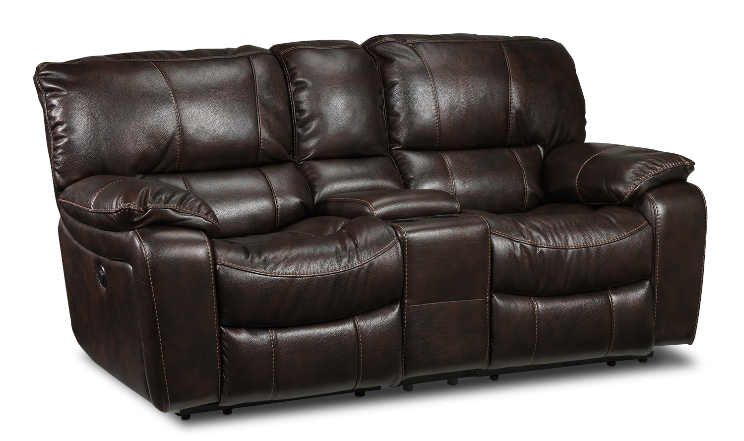 Living Room Furniture - Santorini Power Reclining Loveseat - Walnut