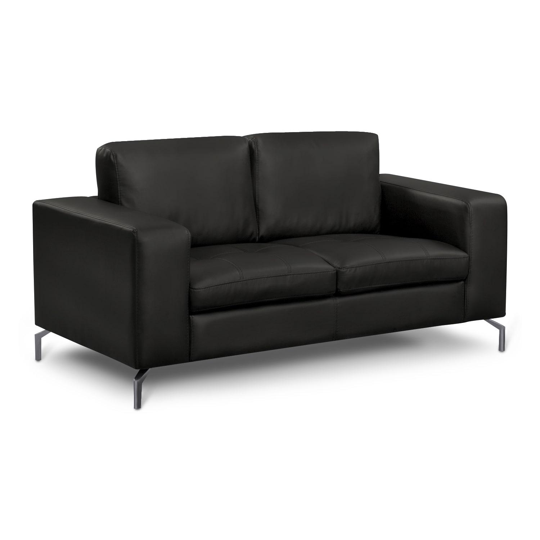 Living Room Furniture - Mirage Black Loveseat