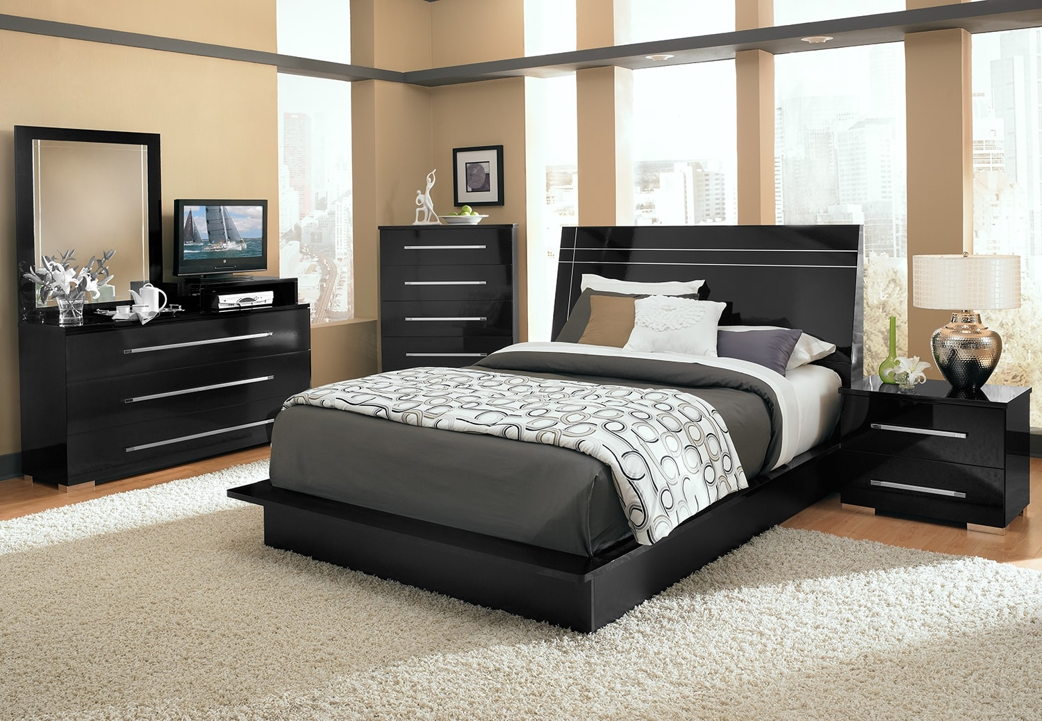 dimora 7 piece queen panel bedroom set with media dresser black value city furniture. Black Bedroom Furniture Sets. Home Design Ideas