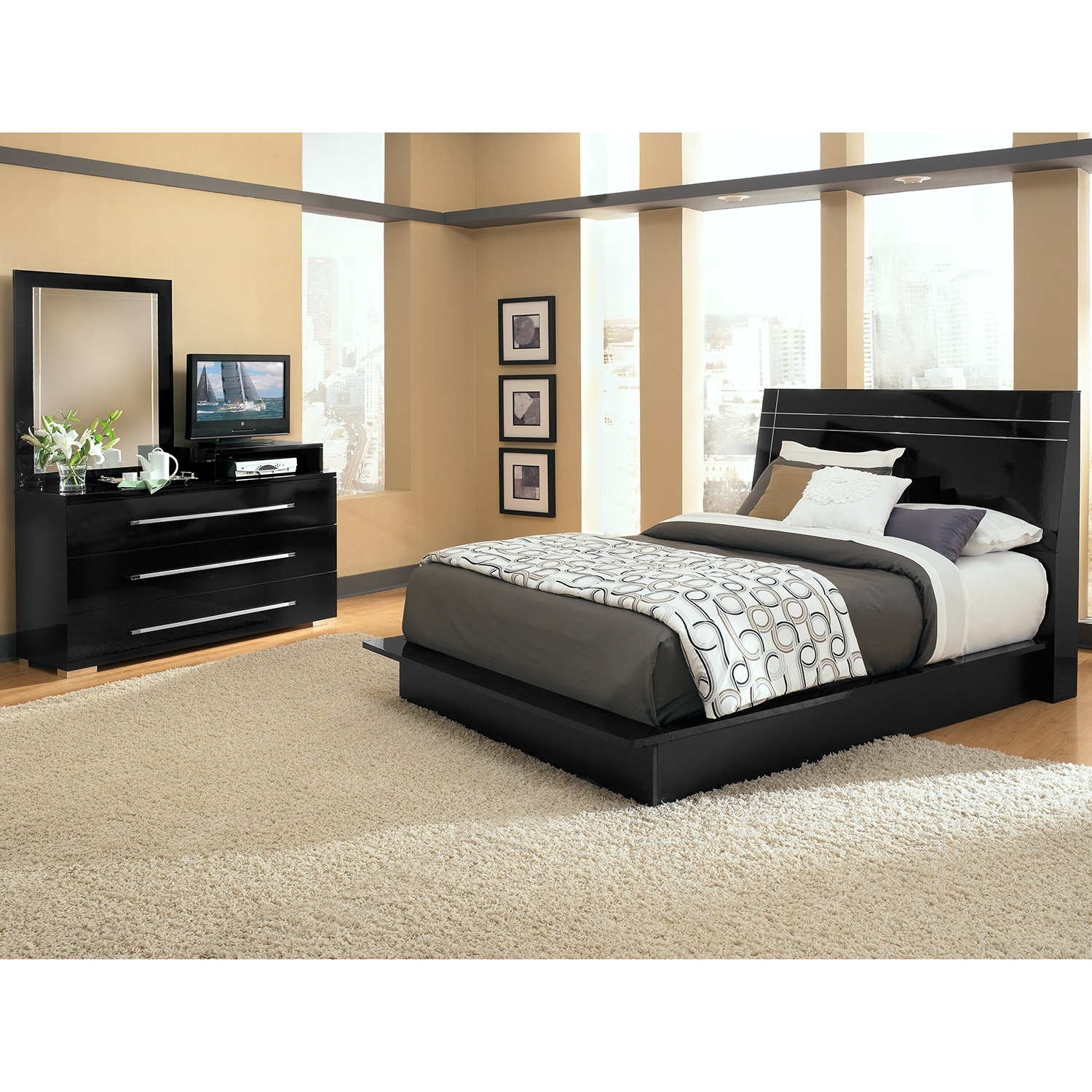 dimora black ii 5 pc queen bedroom value city furniture. Black Bedroom Furniture Sets. Home Design Ideas
