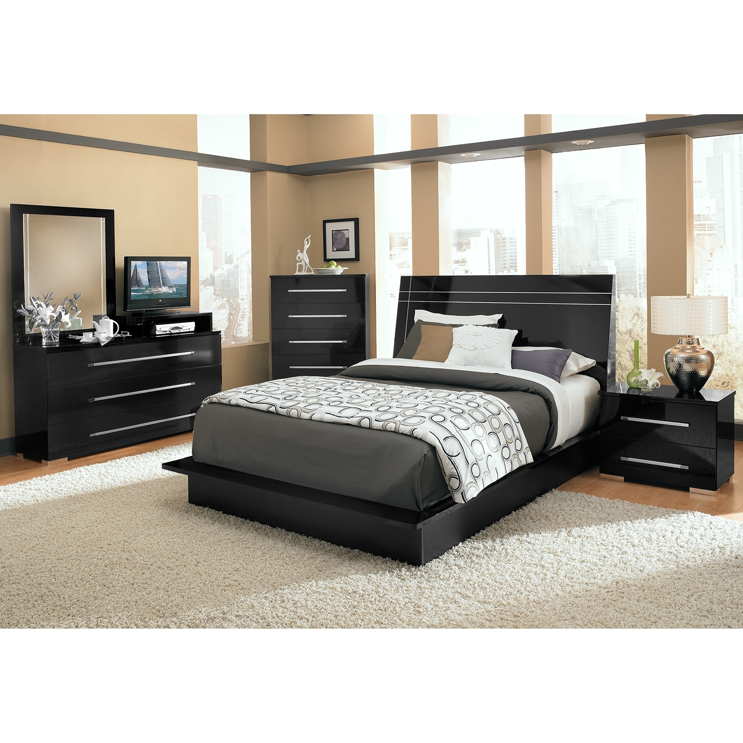 Dimora queen panel bed black american signature furniture for Furniture queen bedroom sets