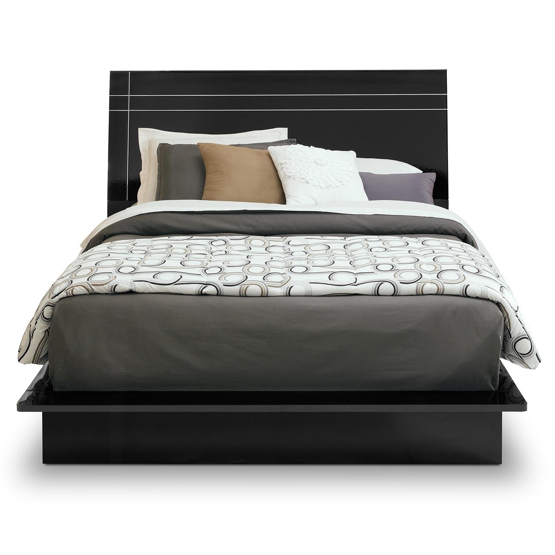 Dimora 5 Piece Queen Panel Bedroom Set With Media Dresser: Dimora Queen Panel Bed - Black