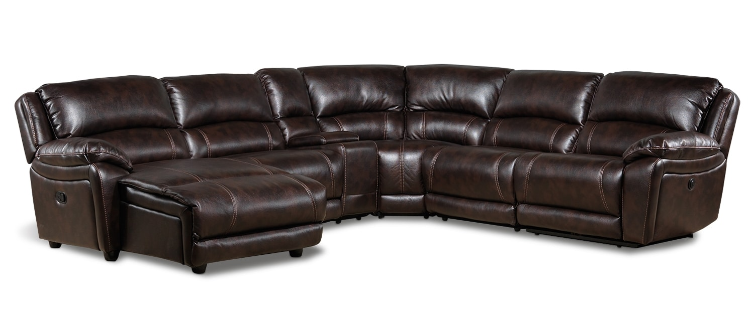 Living Room Furniture - Santorini 6 Pc. Power Sectional w/Left-Facing Chaise - Walnut