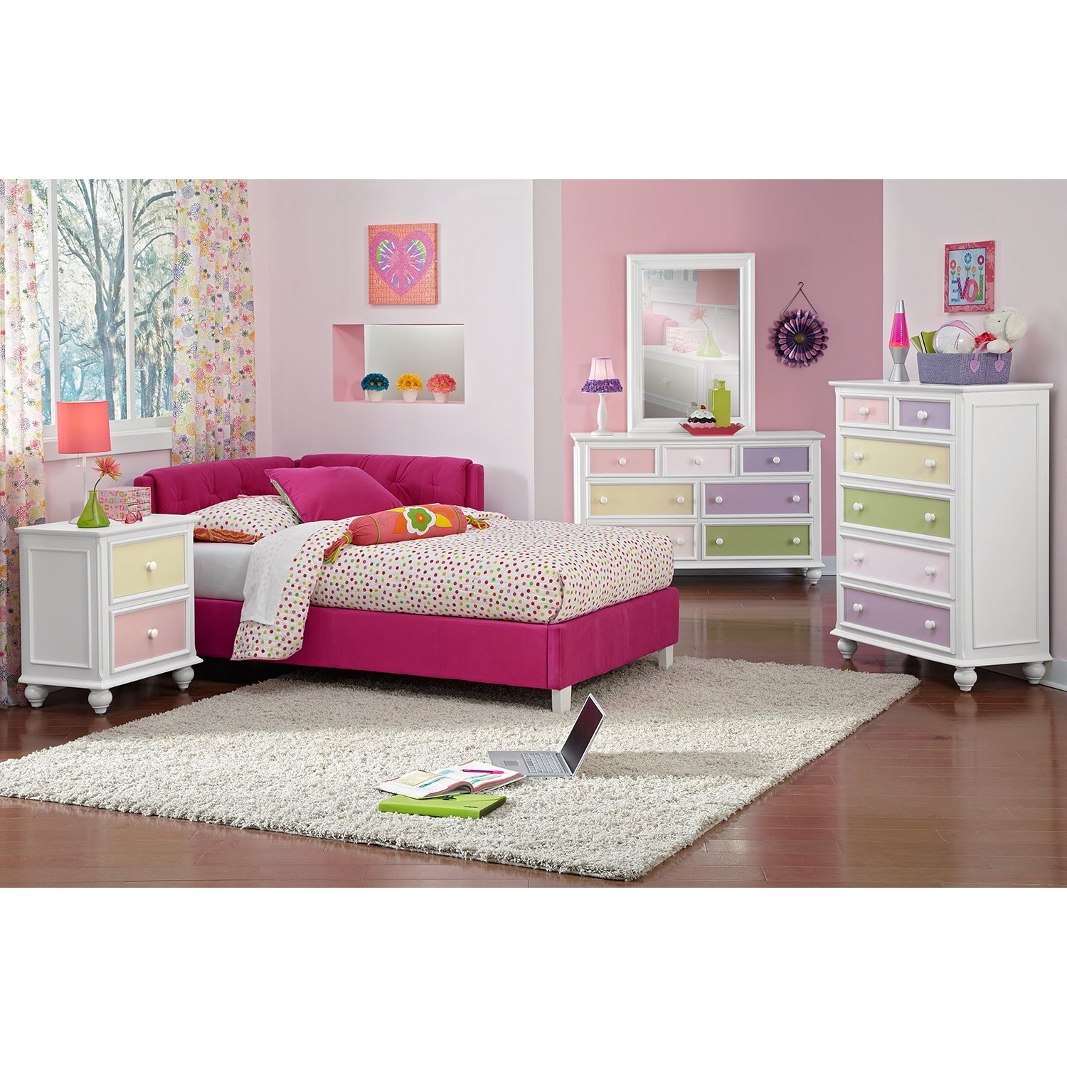 Jordan full corner bed pink value city furniture for Complete bedroom sets with mattress