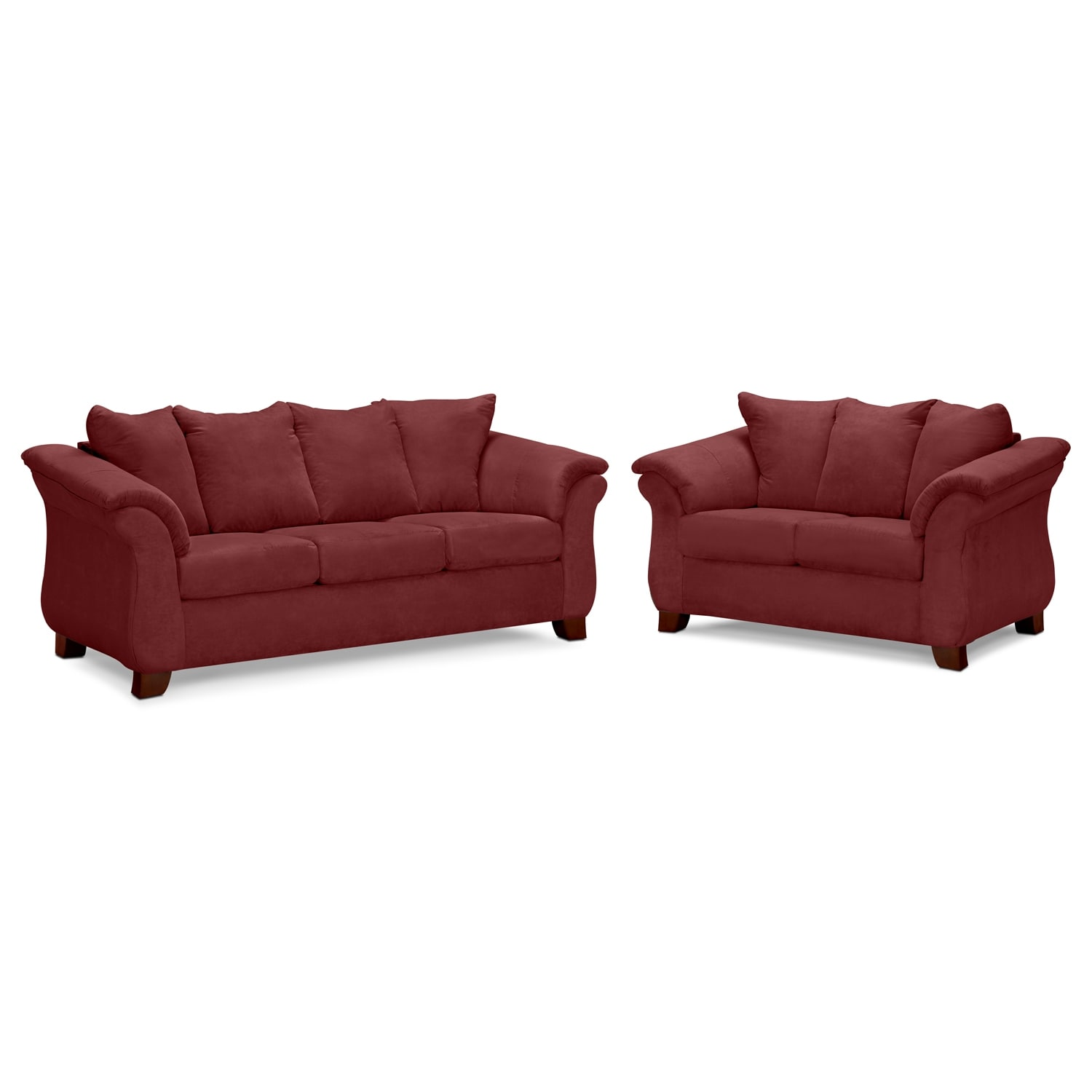 Adrian Sofa And Loveseat Set Red Value City Furniture