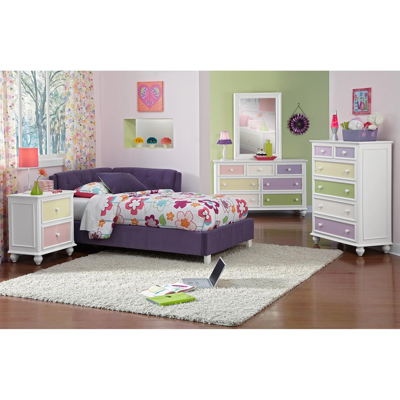 Jordan full corner bed purple american signature furniture for Jordans furniture bedroom sets