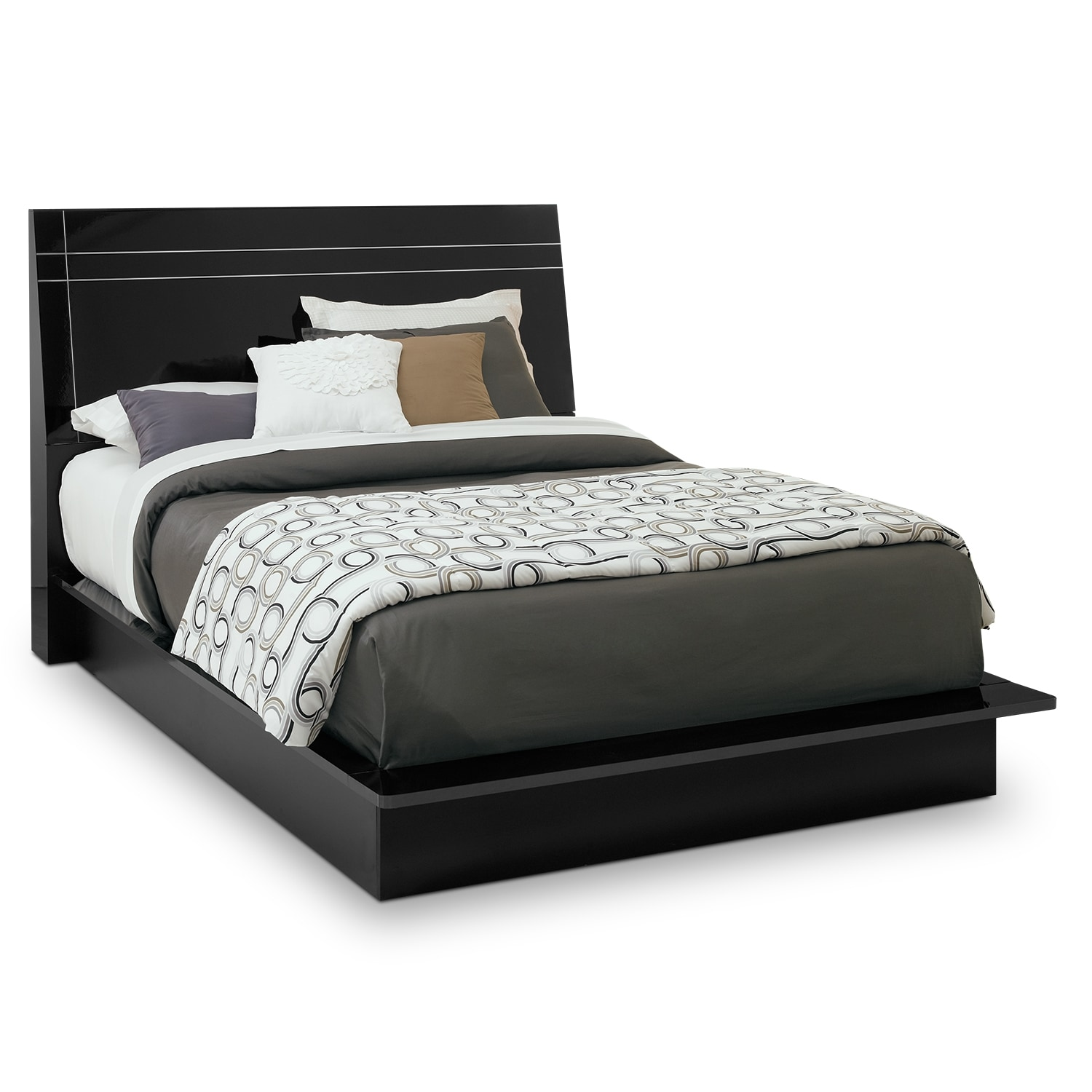Dimora queen panel bed black value city furniture for Bedroom furniture with mattress