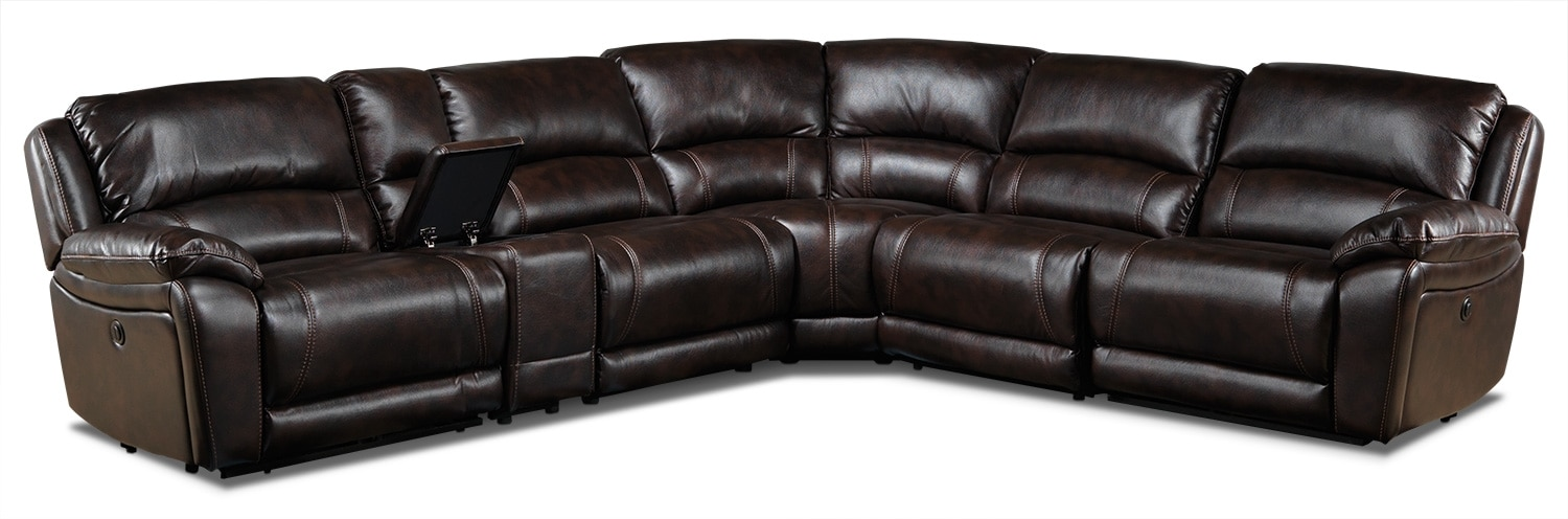 Living Room Furniture - Santorini 6-Piece Power Reclining Sectional - Walnut