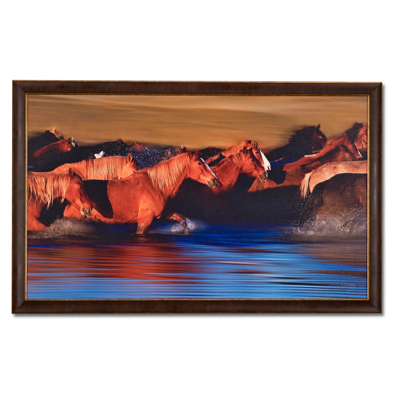 Water crossing framed print value city furniture for Living room framed art