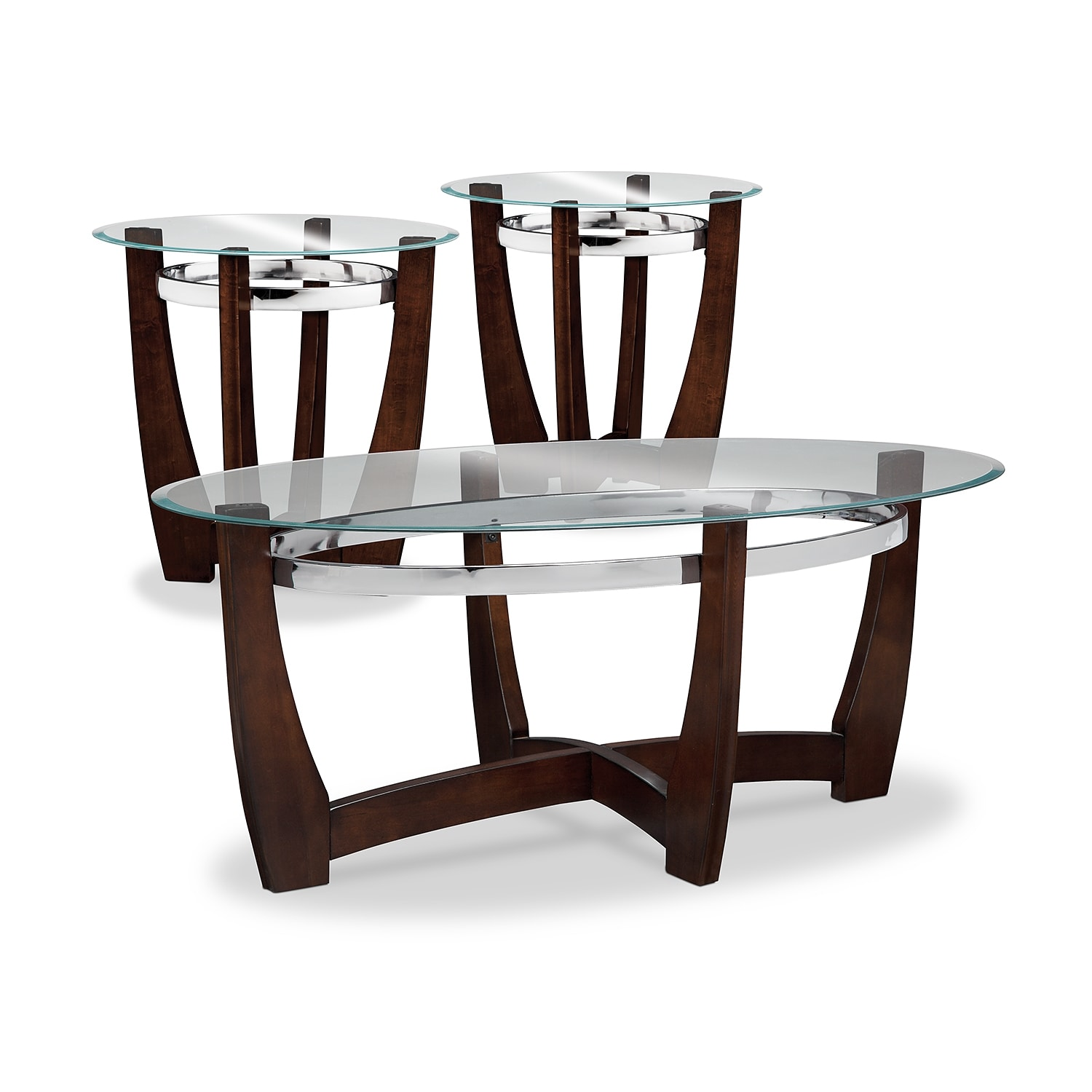 Alcove Cocktail Table And 2 End Tables Merlot American