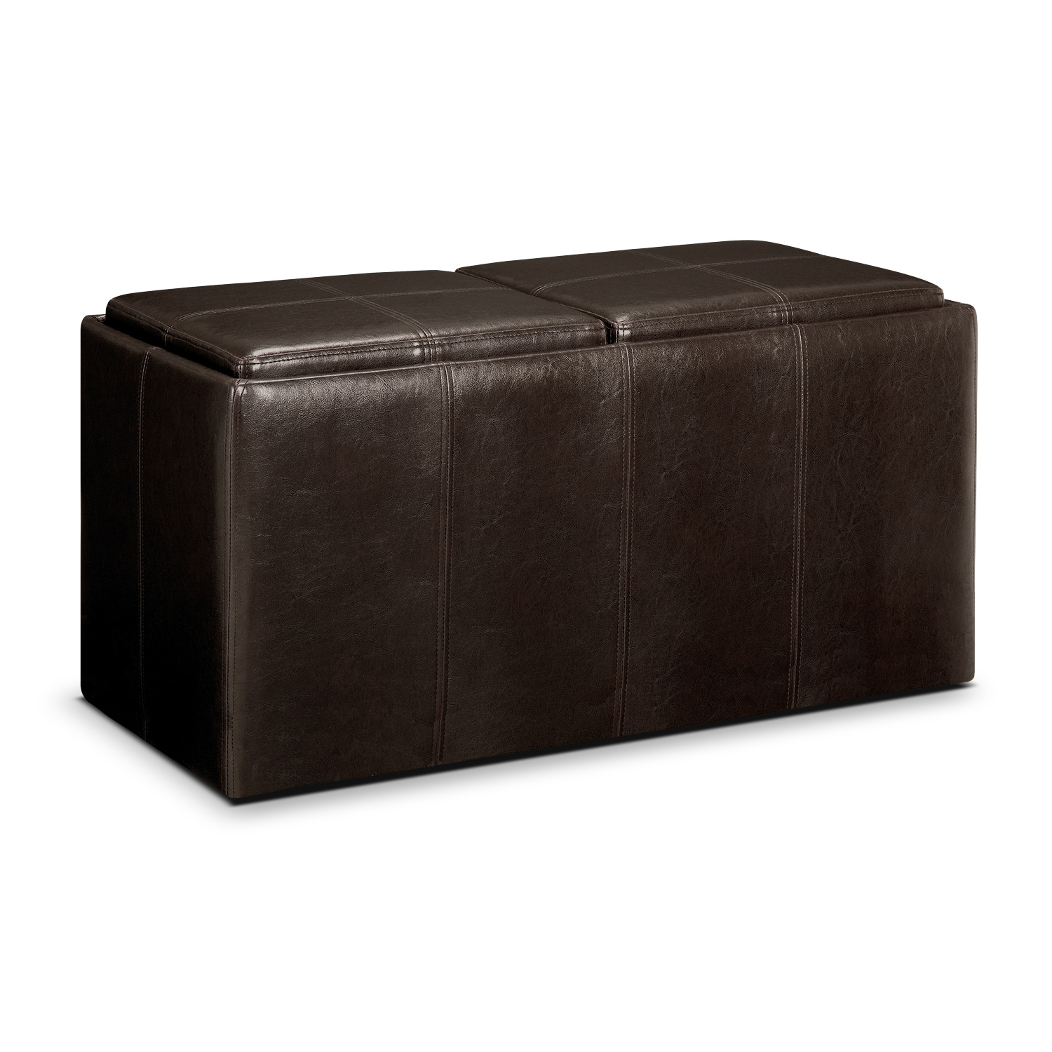 tiffany 3 pc storage ottoman with trays value city. Black Bedroom Furniture Sets. Home Design Ideas