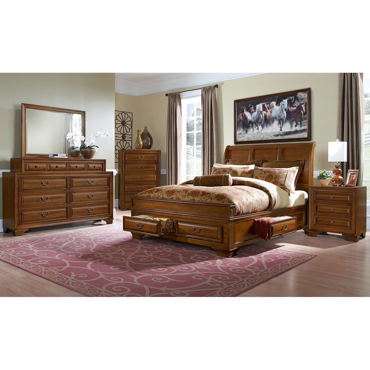 Sanibelle king storage bed pine american signature for Bed and bedroom furniture sets