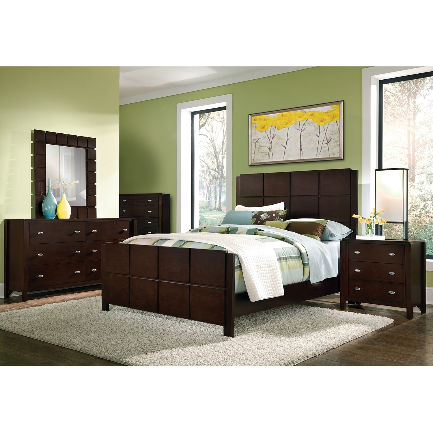 mosaic dresser and mirror dark brown american signature furniture. Black Bedroom Furniture Sets. Home Design Ideas