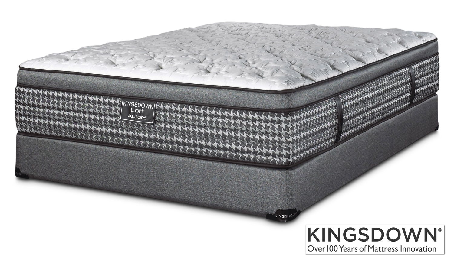 Kingsdown aurora queen mattress boxspring set leon 39 s Queen bed and mattress