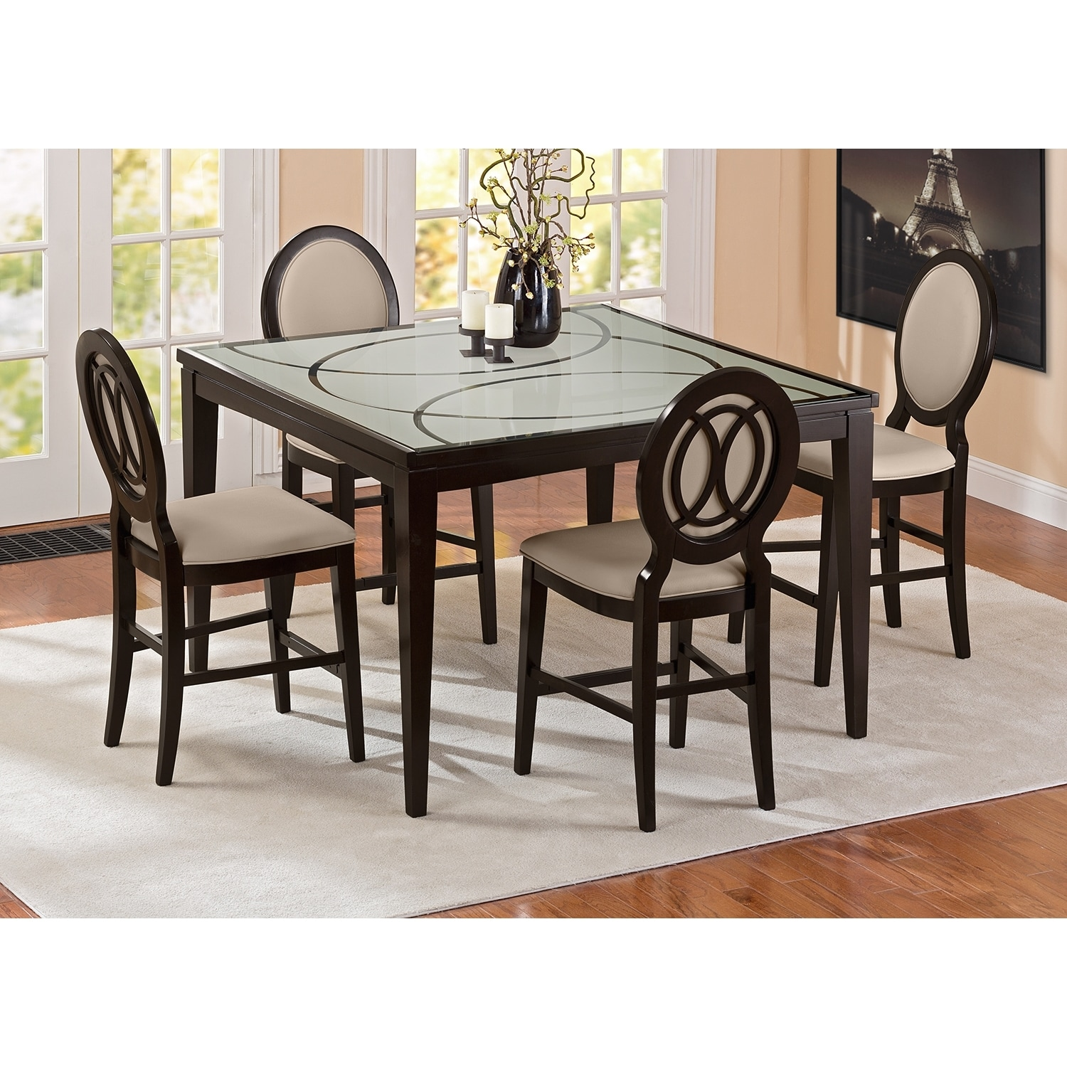cosmo counter height dining table merlot american signature furniture. Black Bedroom Furniture Sets. Home Design Ideas