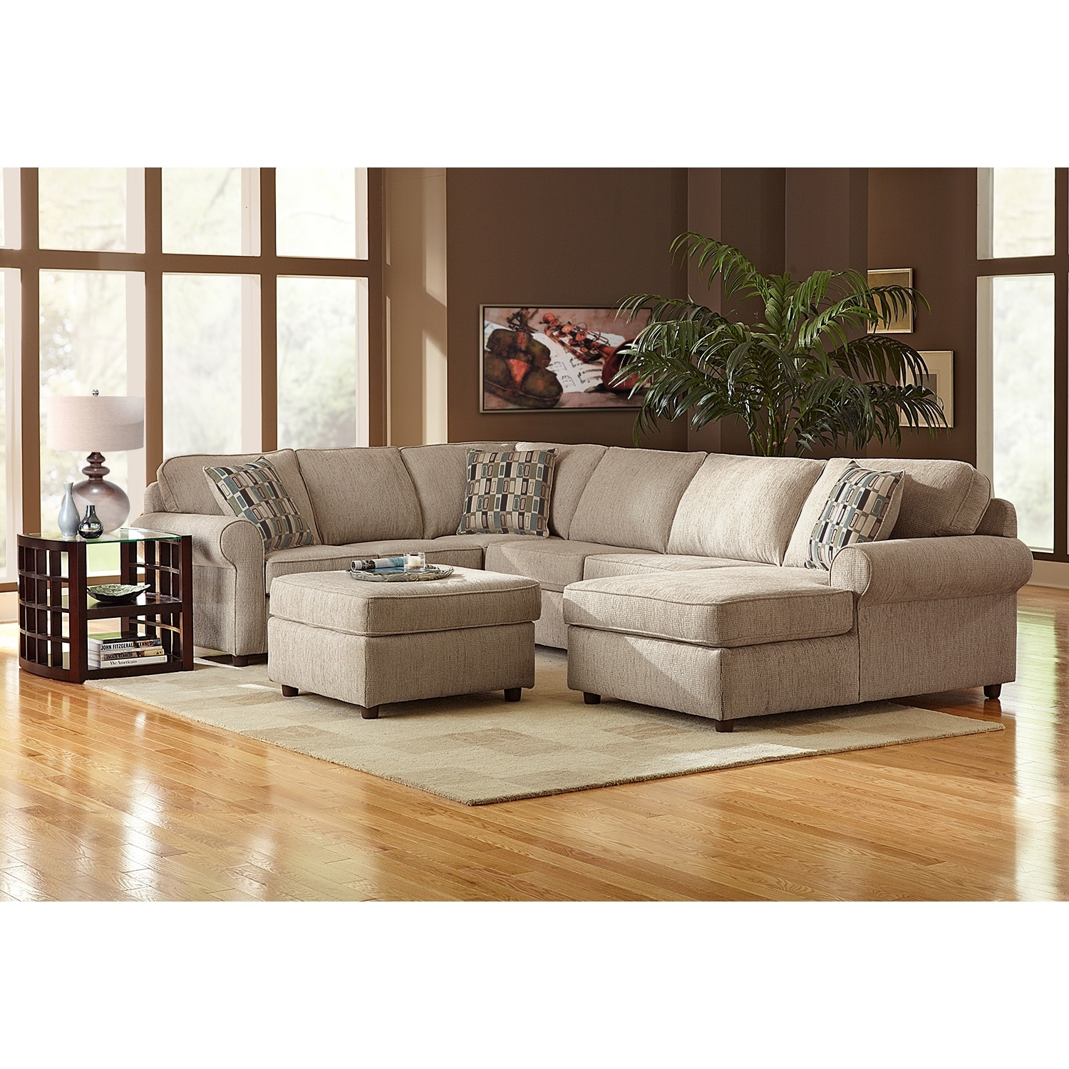 American Furniture Providence Sectional: Monarch 3-Piece Right-Facing Sectional - Taupe
