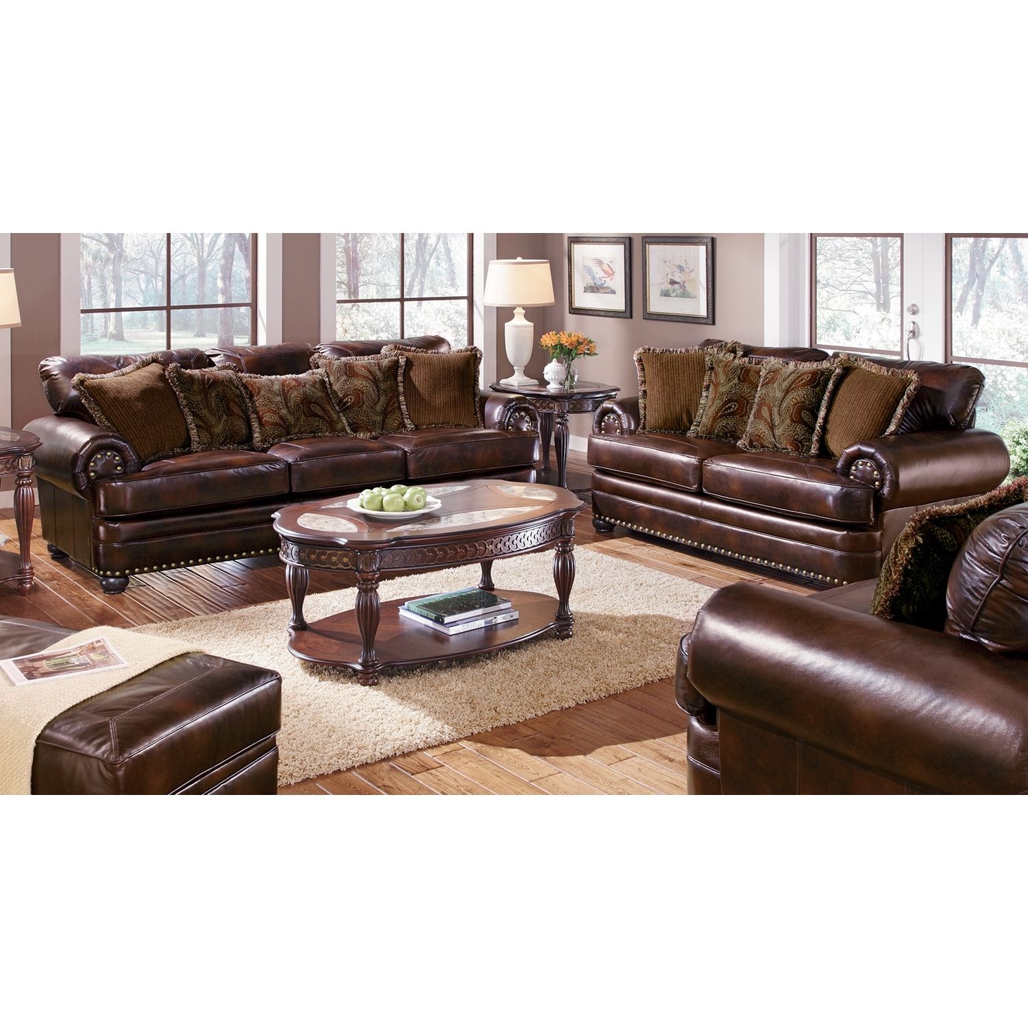 Westover Leather 2 Pc Living Room W Chair Value City