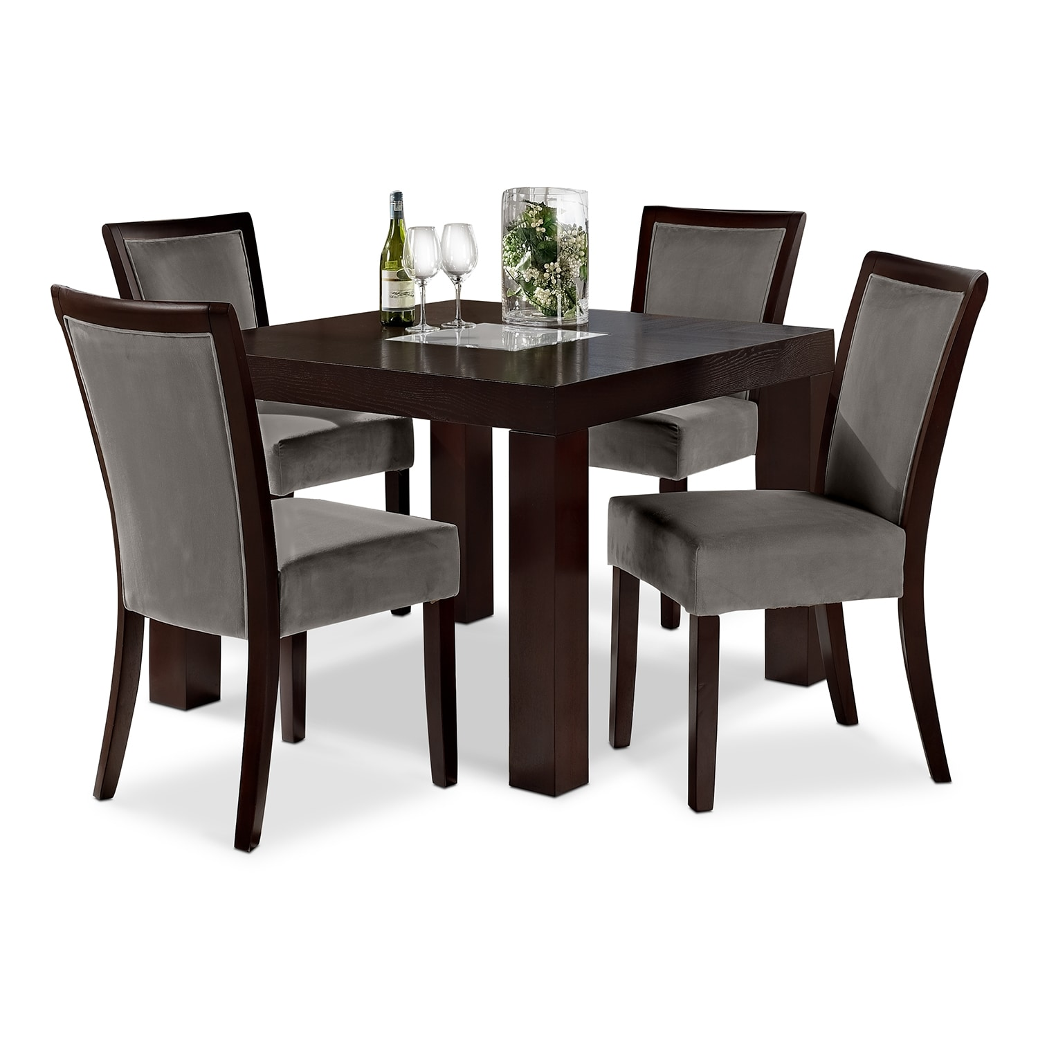 Tango gray dining room 5 pc dinette 42 table value for Dinette furniture
