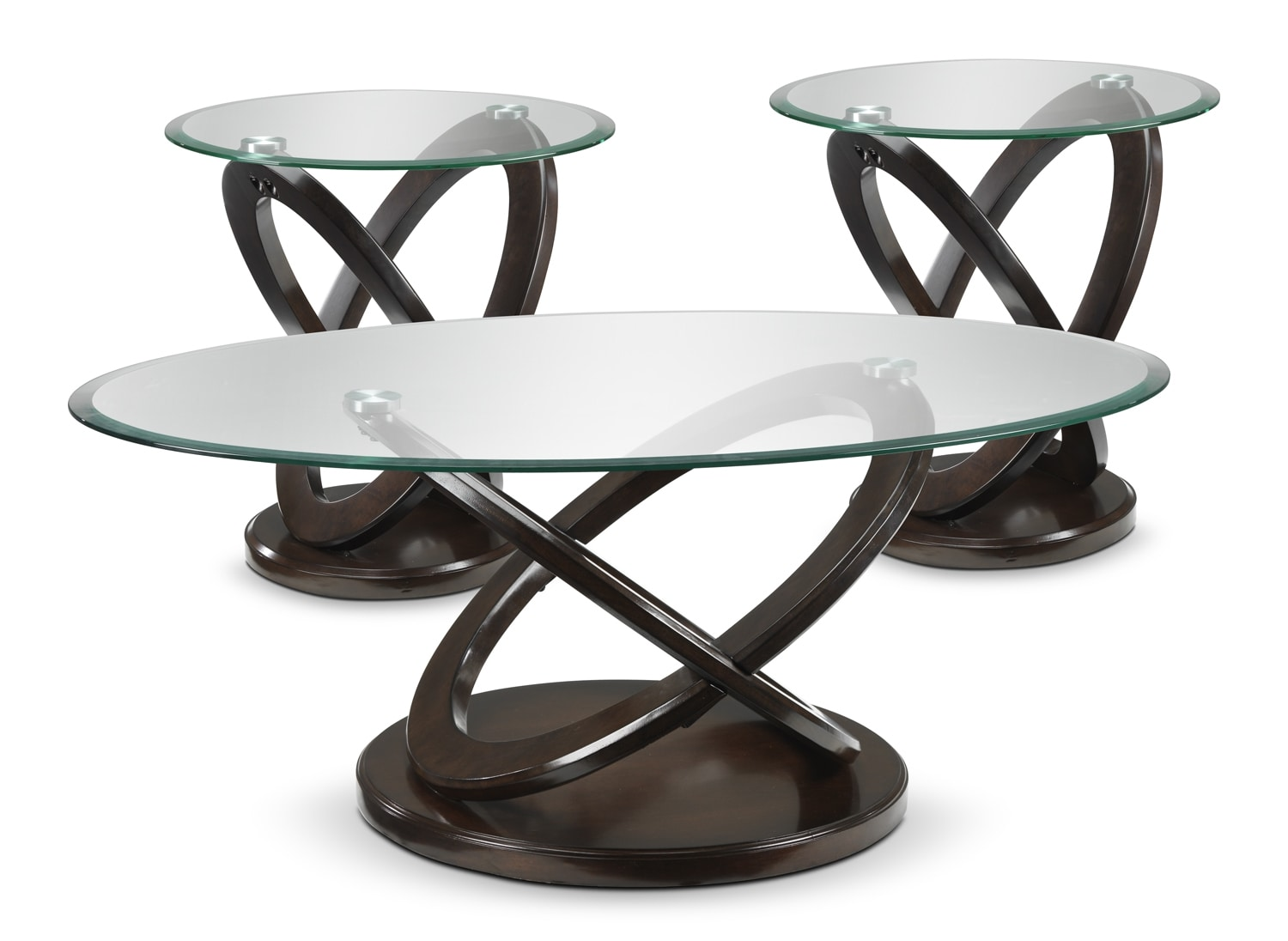 Accent and Occasional Furniture - Atomic Coffee Table and Two End Tables - Brown Cherry