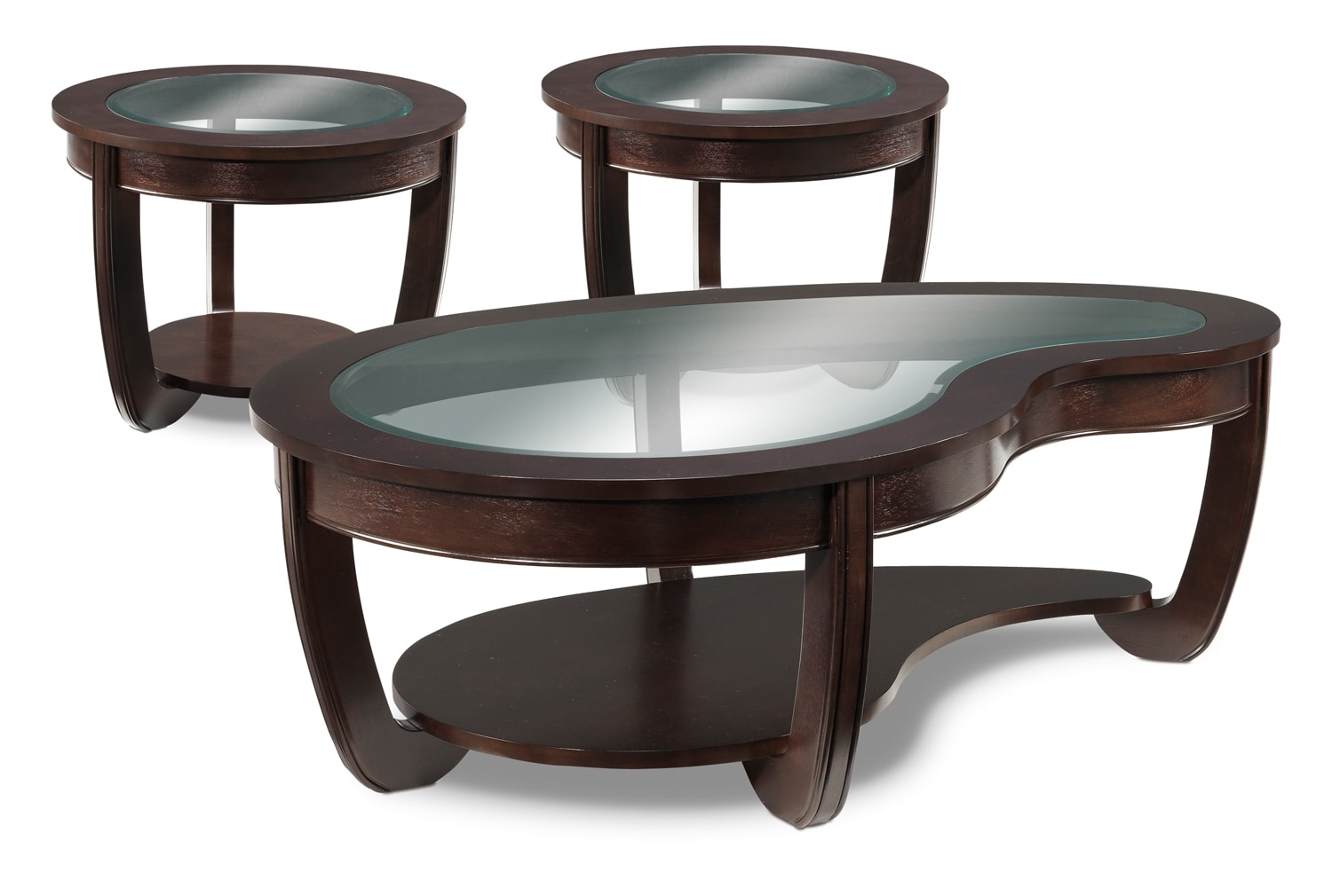 Accent and Occasional Furniture - Kitson Coffee Table and Two End Tables - Cherry