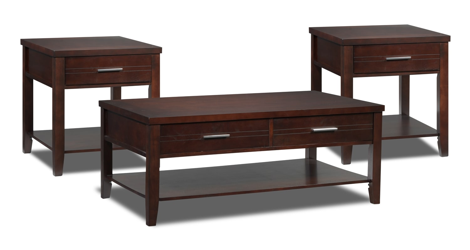 Gloria Coffee Table and Two End Tables - Espresso