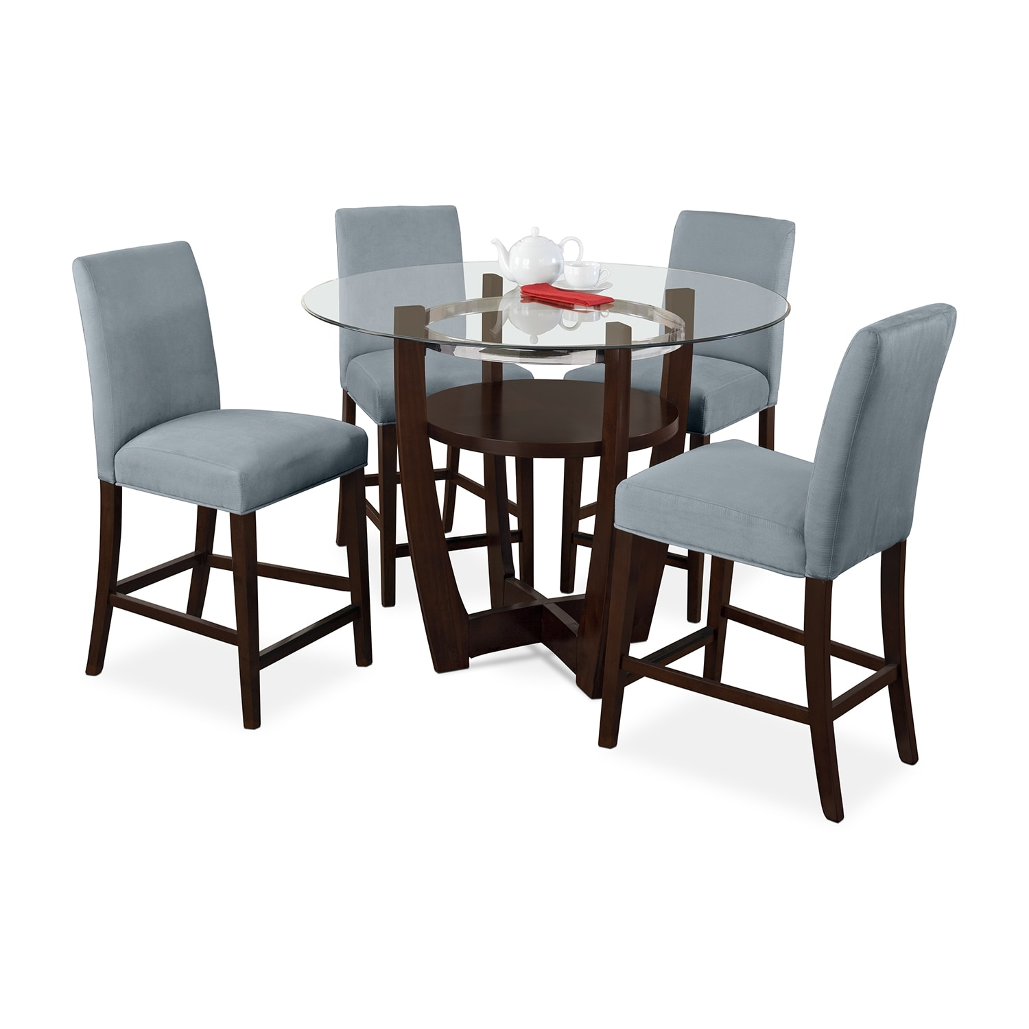 Alcove Counter Height Dinette With 4 Side Chairs Aqua