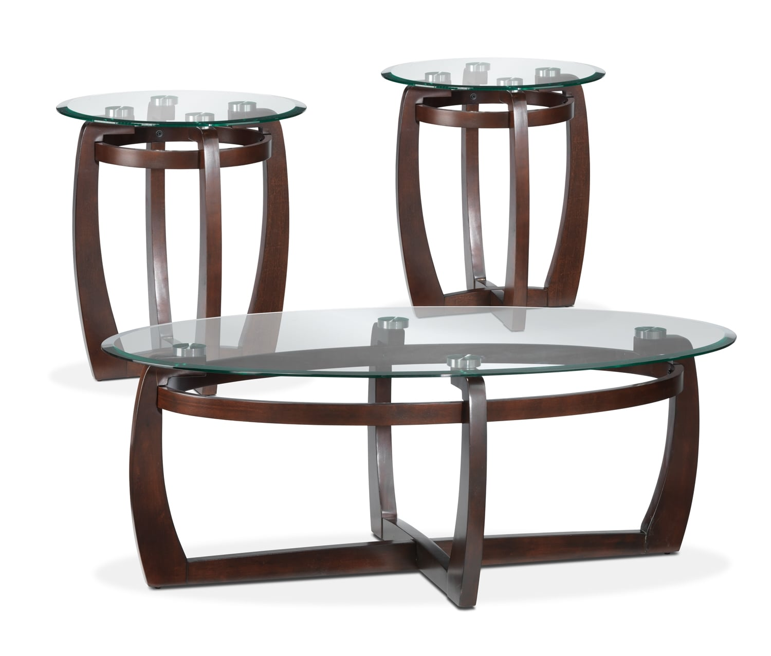 Jillian coffee table and two end tables espresso leon 39 s for Accent coffee table