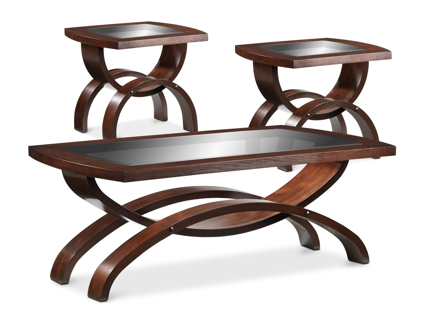 Barton coffee table and two end tables chocolate leon 39 s for Accent coffee table