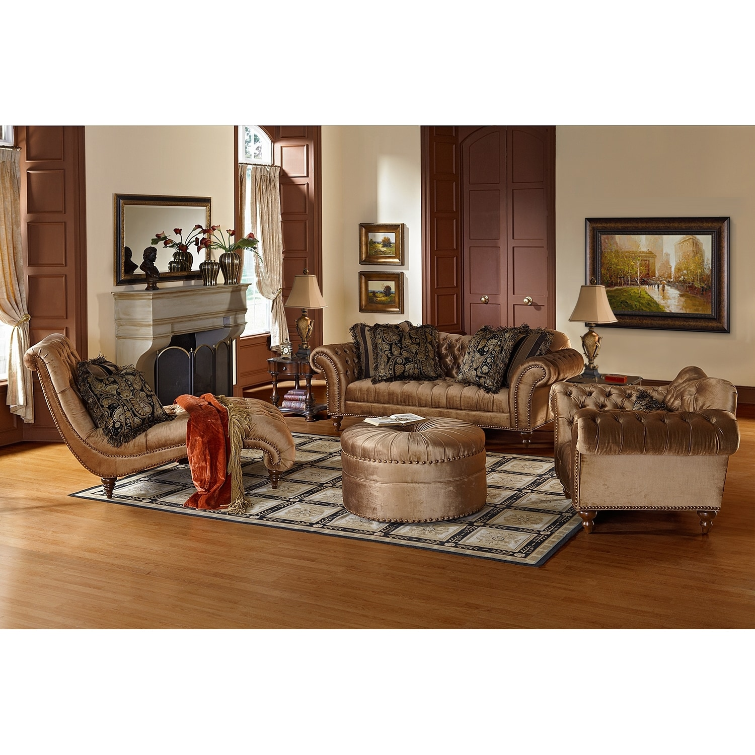 Brittney upholstery chaise value city furniture for Chaise living room